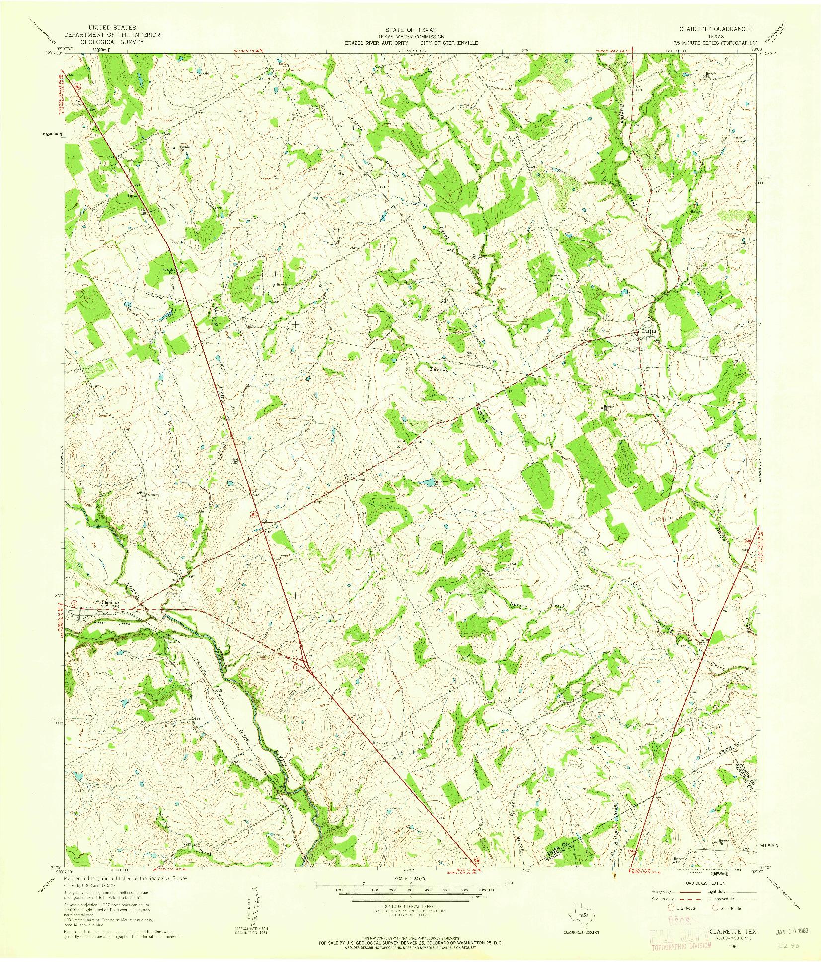 USGS 1:24000-SCALE QUADRANGLE FOR CLAIRETTE, TX 1961