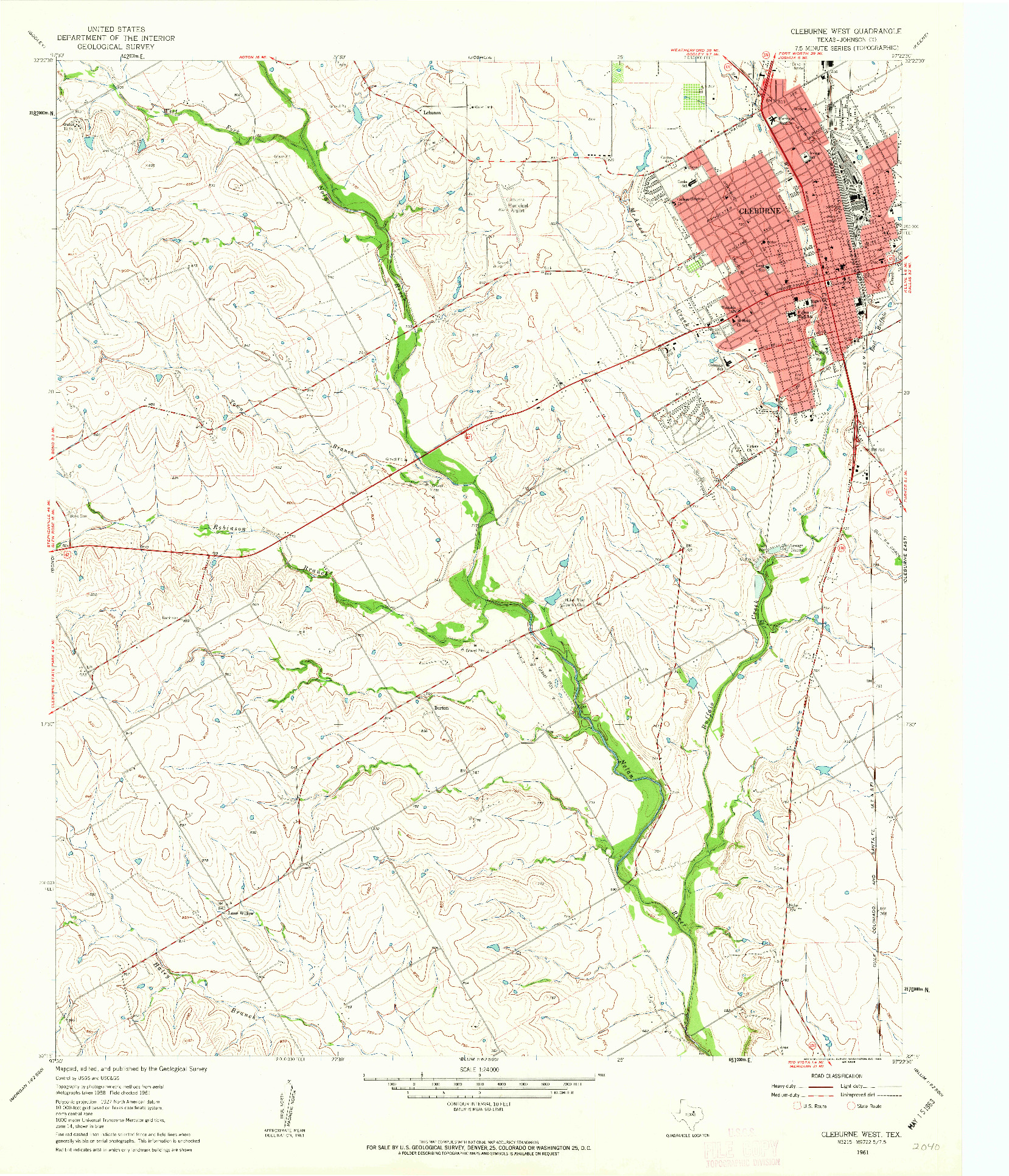 USGS 1:24000-SCALE QUADRANGLE FOR CLEBURNE WEST, TX 1961