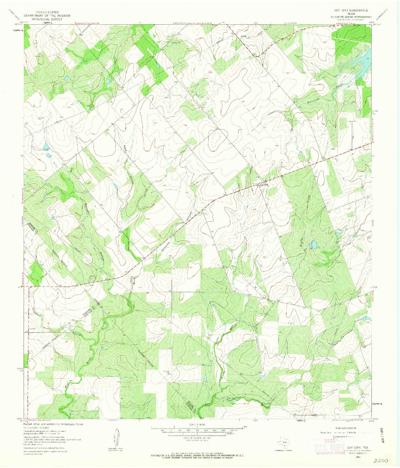 USGS 1:24000-SCALE QUADRANGLE FOR COY CITY, TX 1961