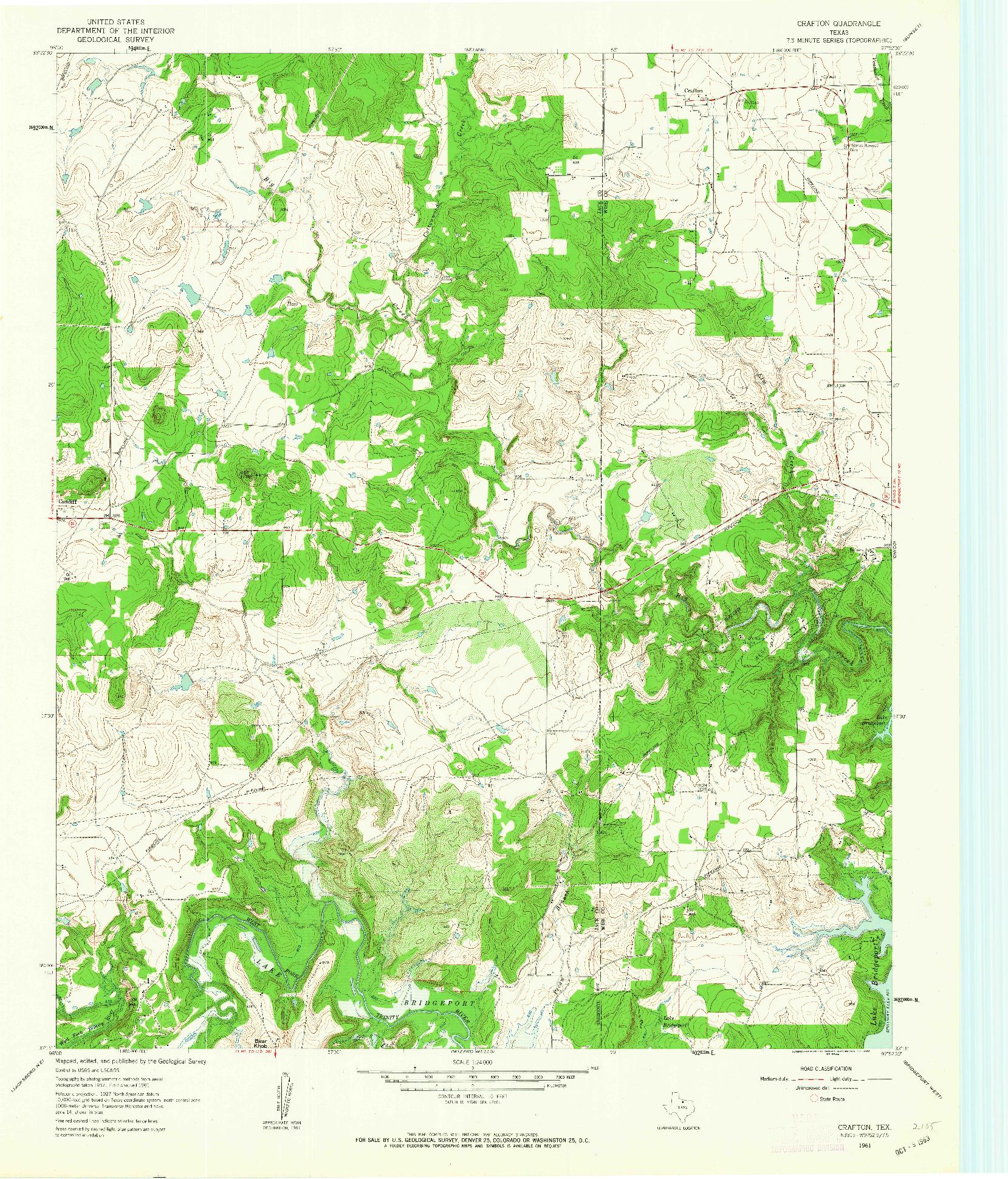 USGS 1:24000-SCALE QUADRANGLE FOR CRAFTON, TX 1961