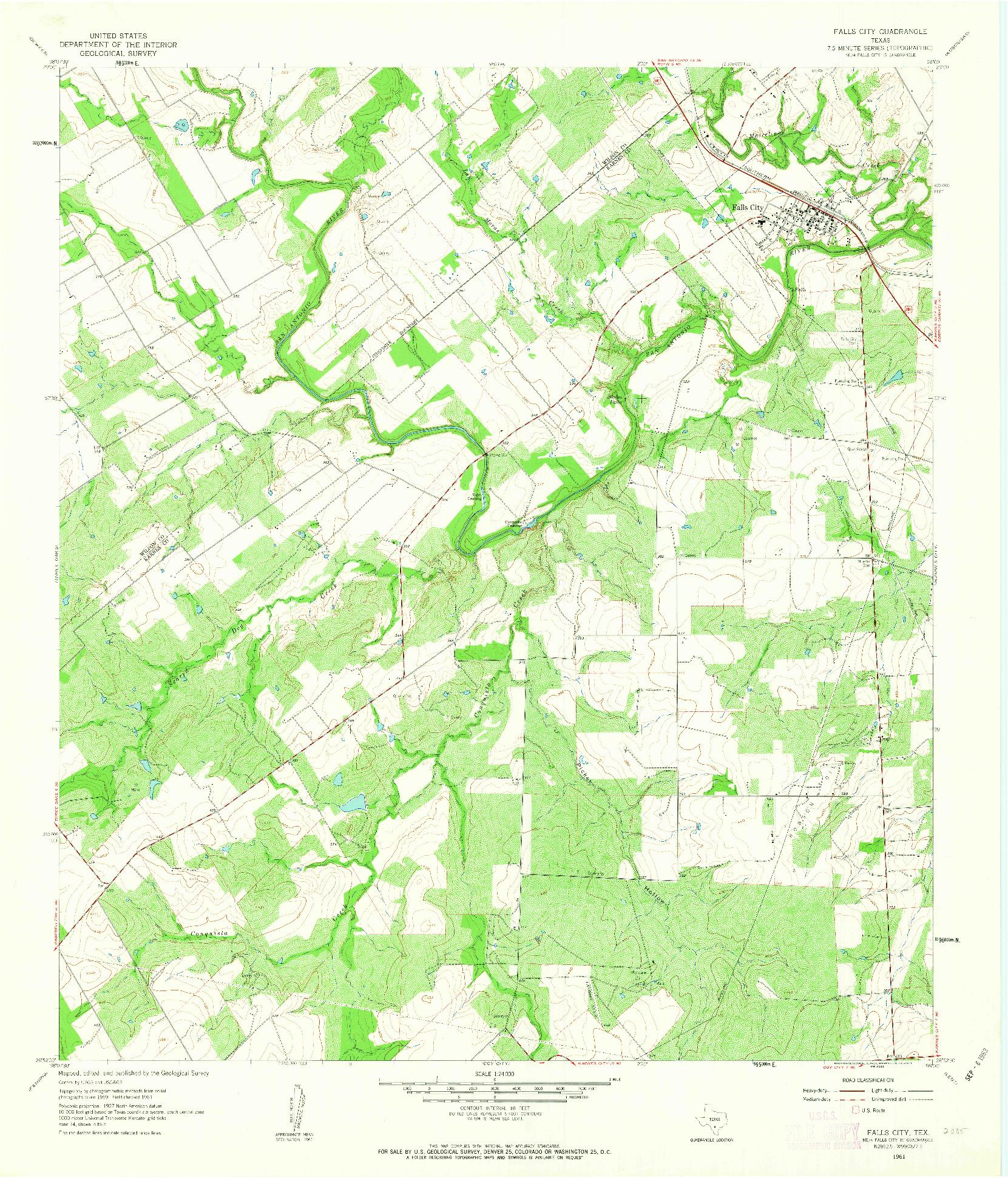 USGS 1:24000-SCALE QUADRANGLE FOR FALLS CITY, TX 1961