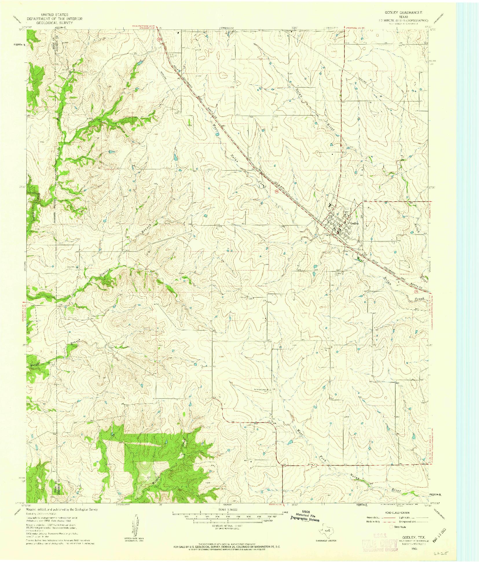 USGS 1:24000-SCALE QUADRANGLE FOR GODLEY, TX 1961