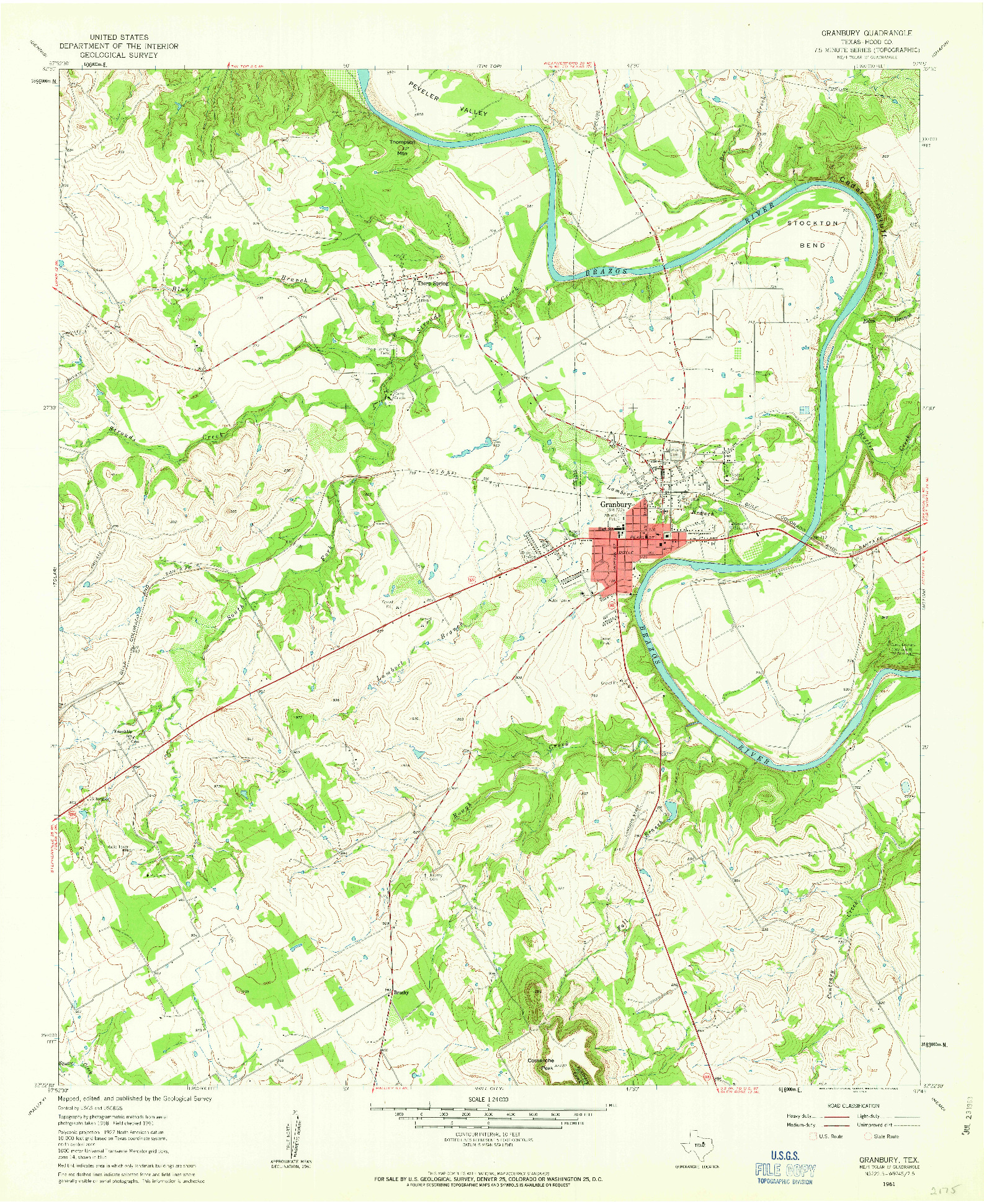USGS 1:24000-SCALE QUADRANGLE FOR GRANBURY, TX 1961