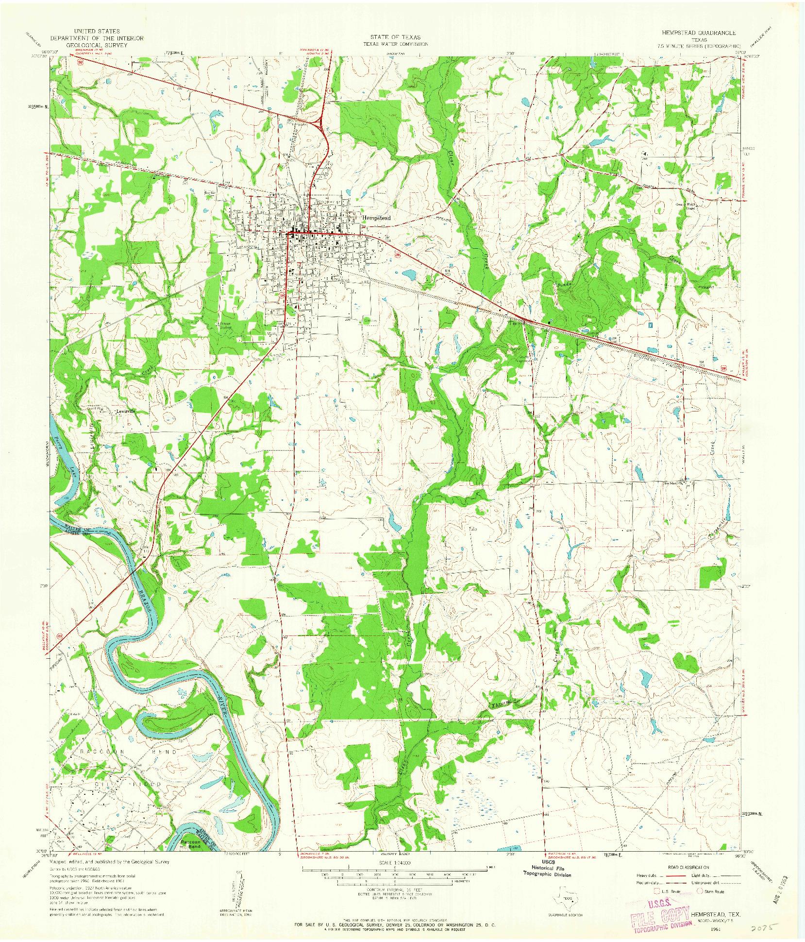 USGS 1:24000-SCALE QUADRANGLE FOR HEMPSTEAD, TX 1961