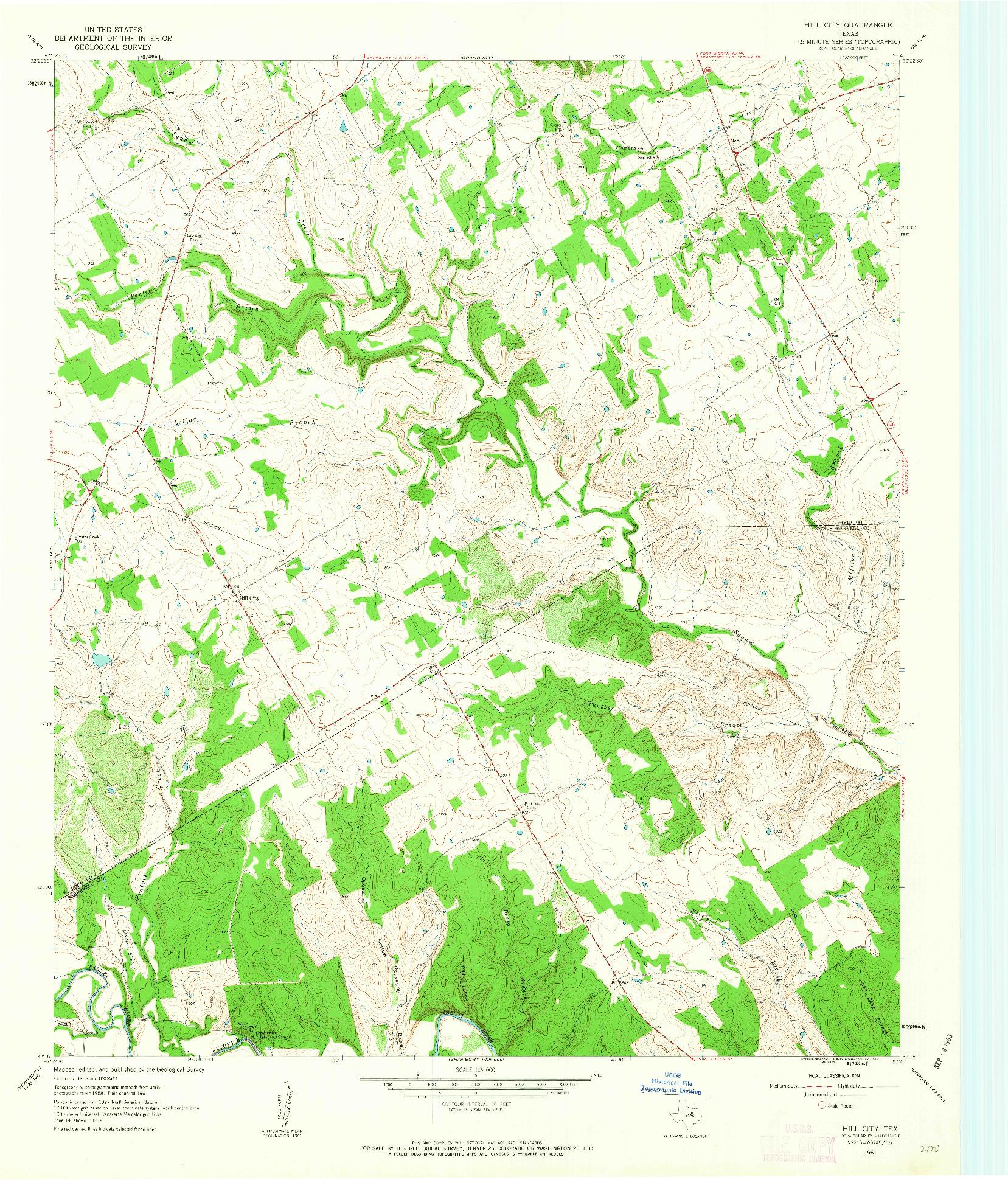 USGS 1:24000-SCALE QUADRANGLE FOR HILL CITY, TX 1961
