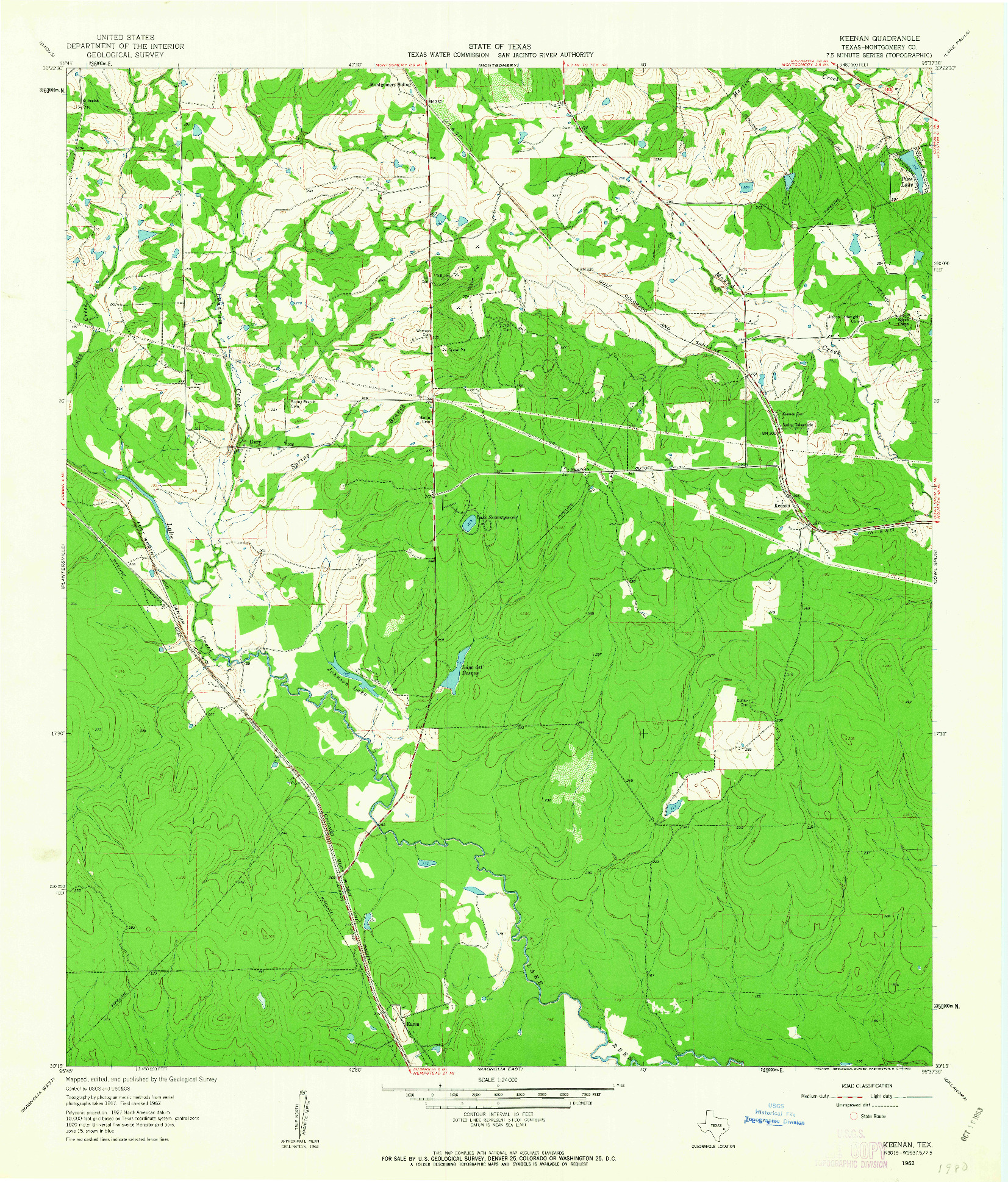 USGS 1:24000-SCALE QUADRANGLE FOR KEENAN, TX 1962