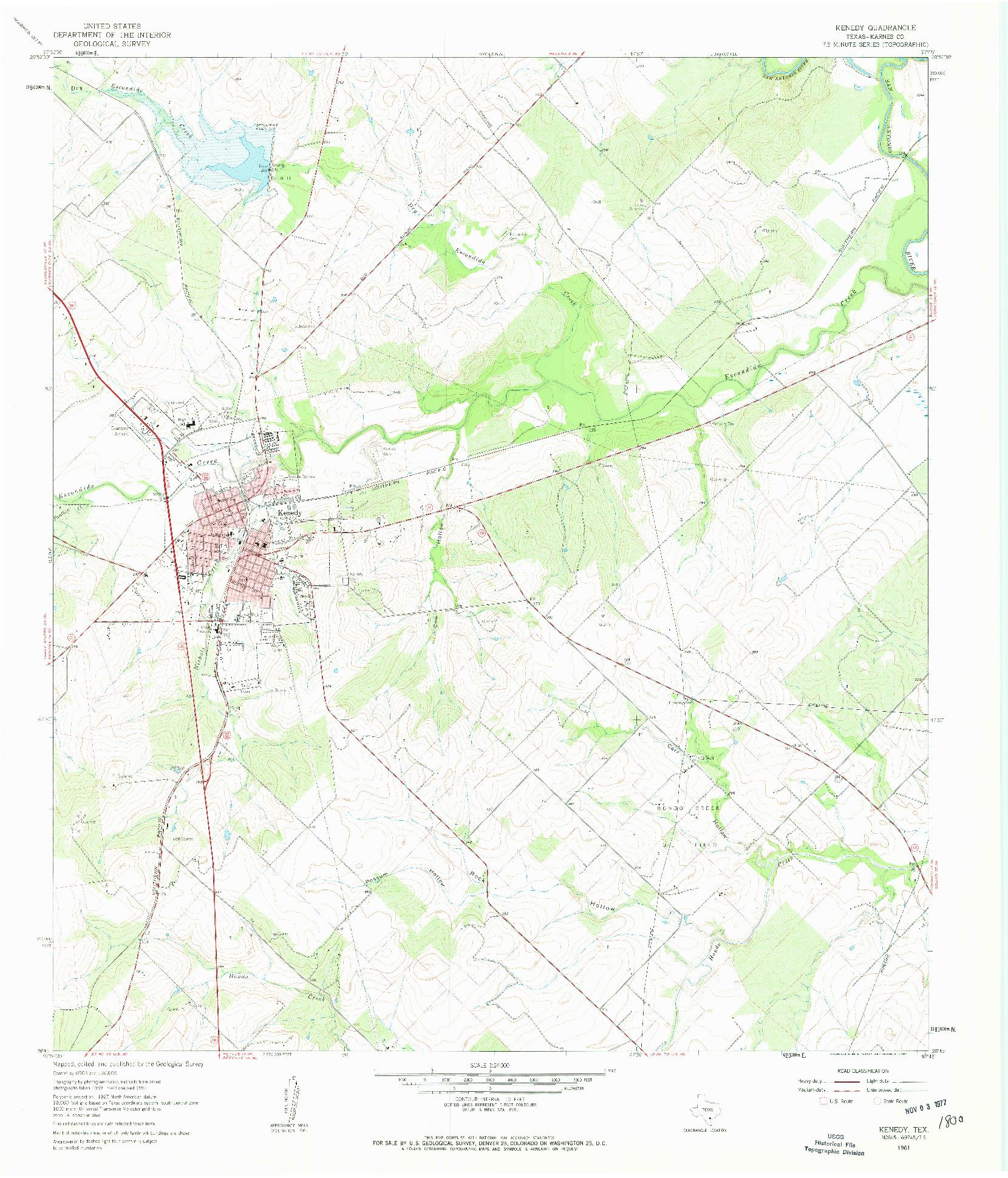 USGS 1:24000-SCALE QUADRANGLE FOR KENEDY, TX 1961
