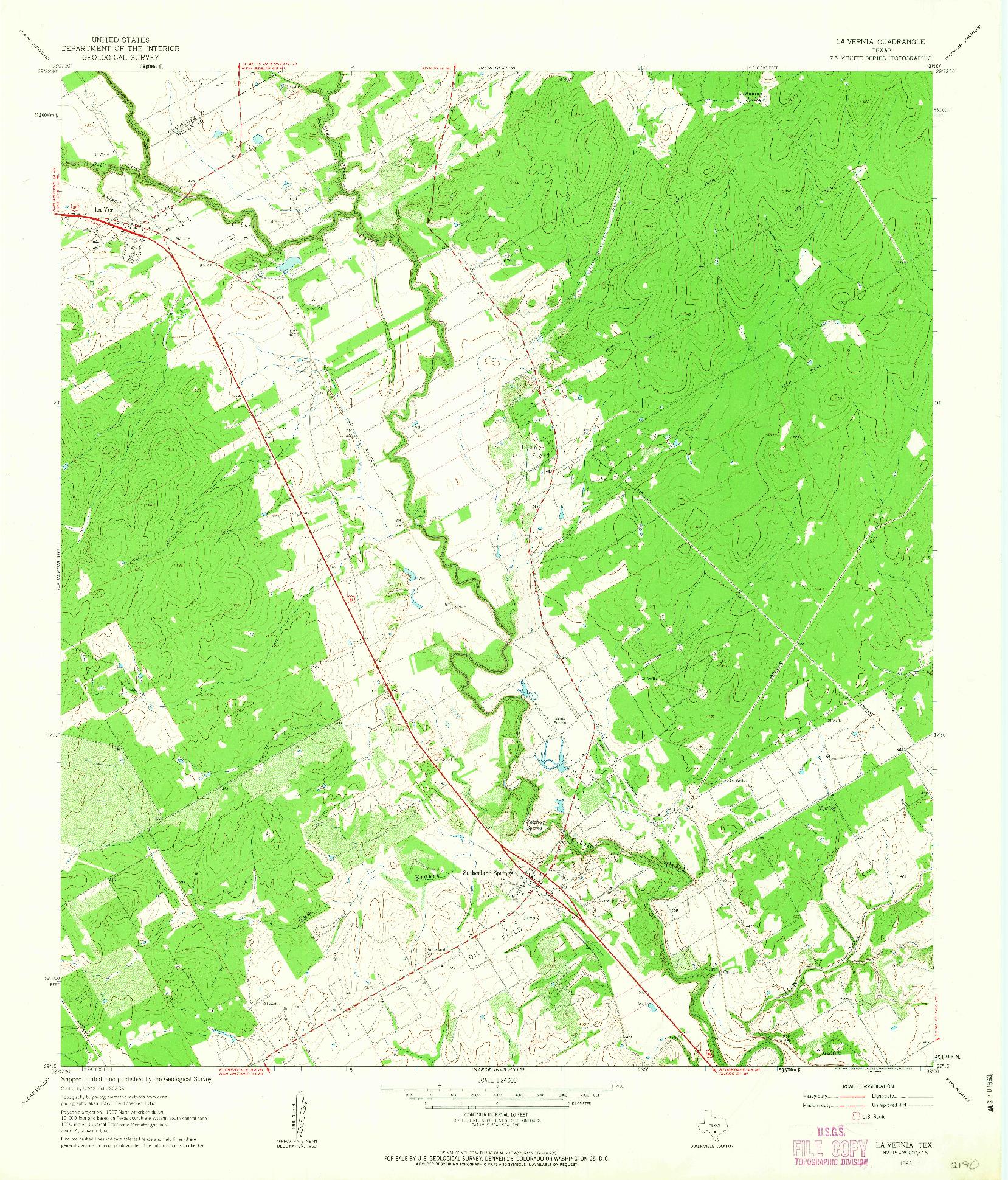 USGS 1:24000-SCALE QUADRANGLE FOR LA VERNIA, TX 1962
