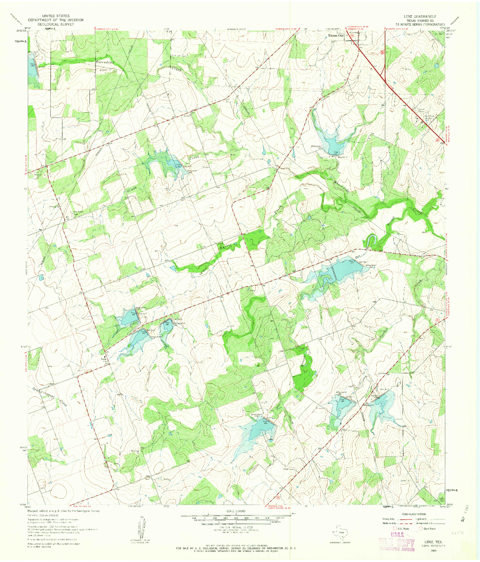 USGS 1:24000-SCALE QUADRANGLE FOR LENZ, TX 1961