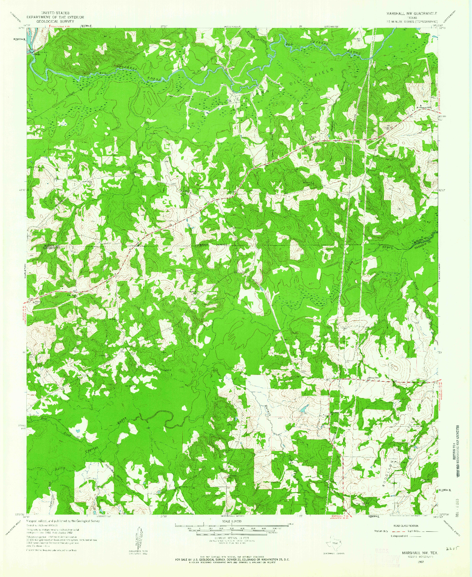 USGS 1:24000-SCALE QUADRANGLE FOR MARSHALL NW, TX 1962