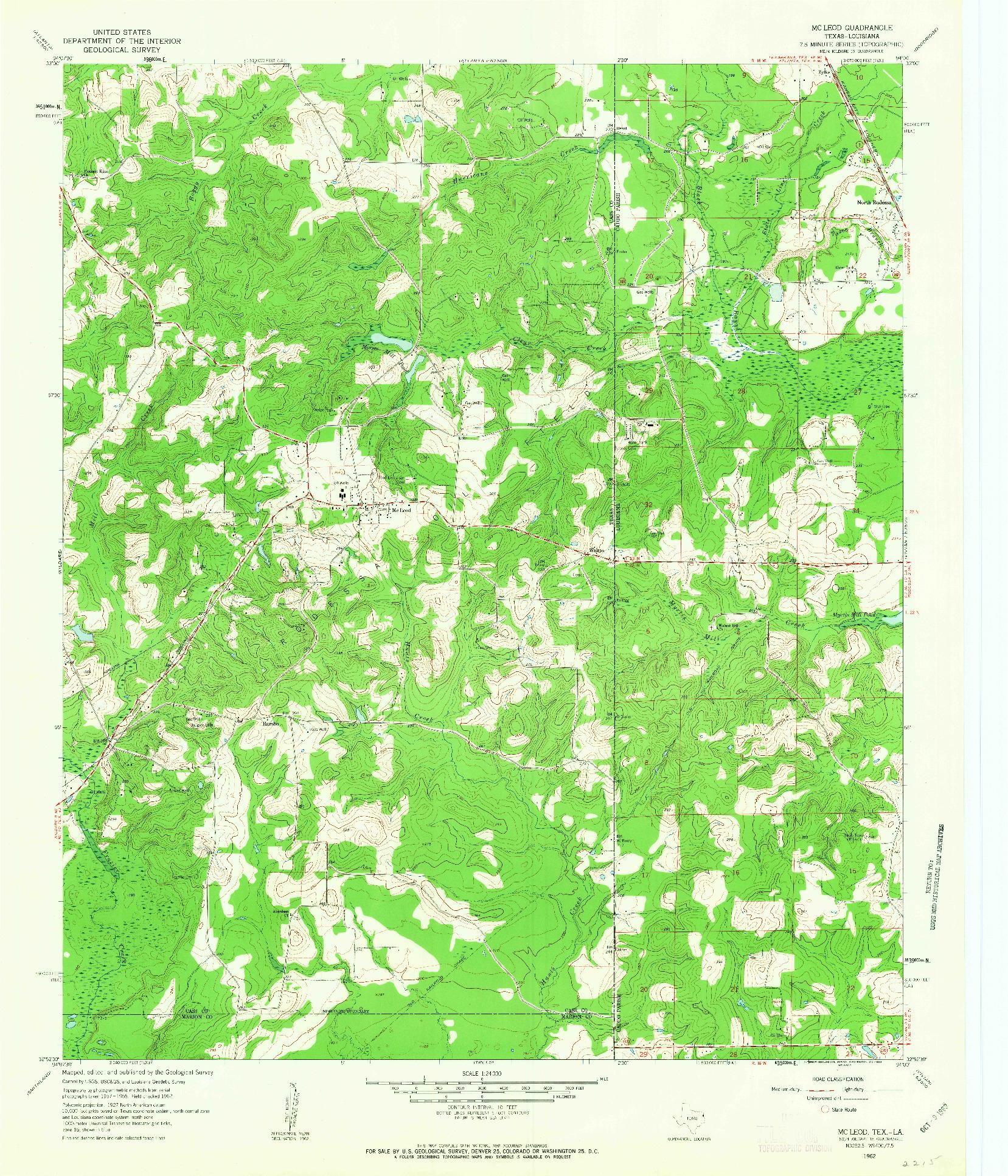 USGS 1:24000-SCALE QUADRANGLE FOR MCLEOD, TX 1962