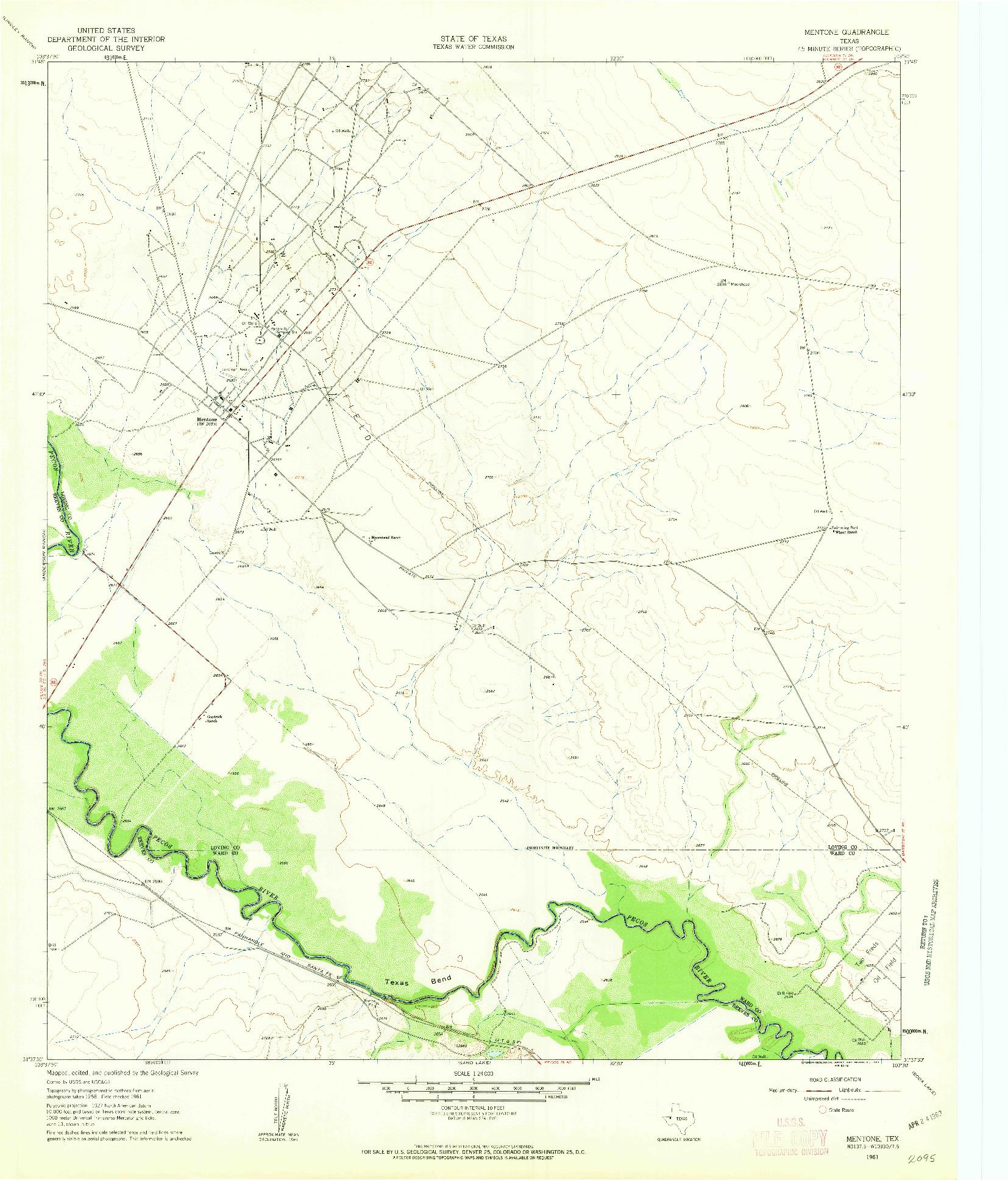 USGS 1:24000-SCALE QUADRANGLE FOR MENTONE, TX 1961