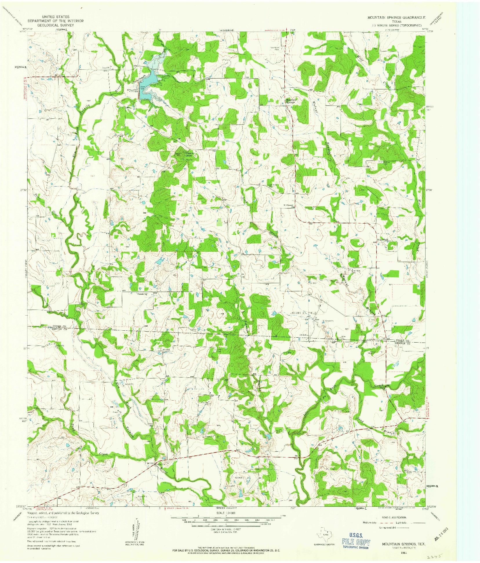 USGS 1:24000-SCALE QUADRANGLE FOR MOUNTAIN SPRINGS, TX 1961