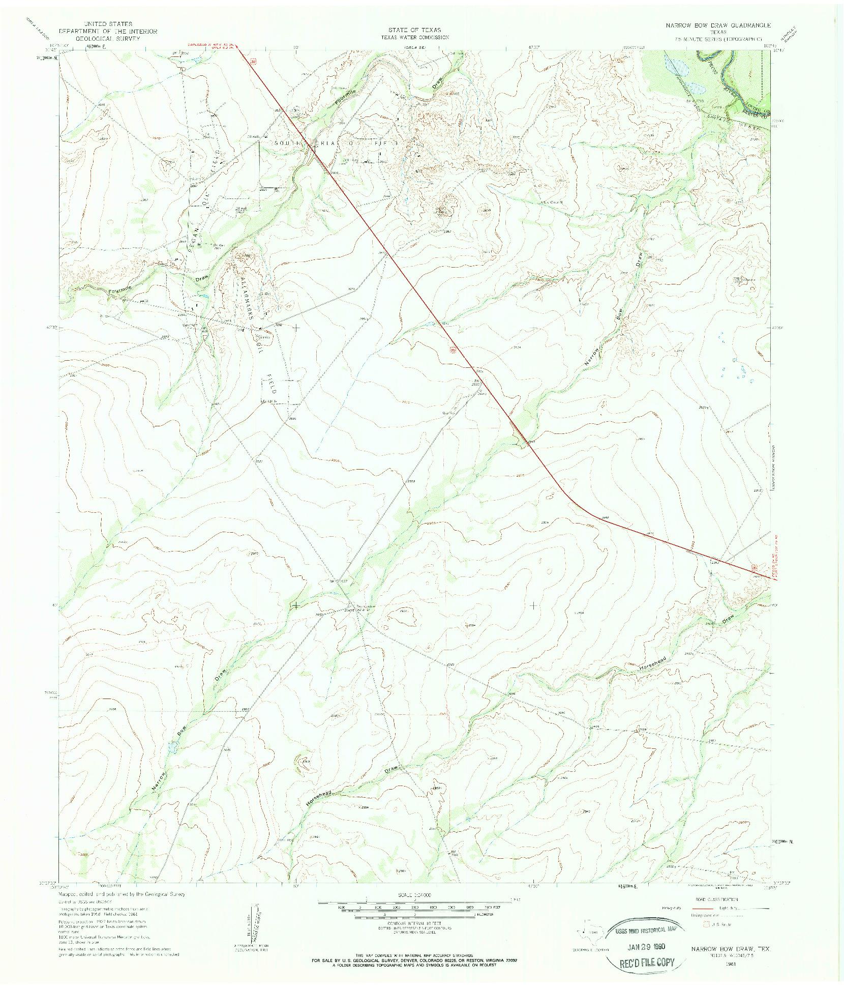 USGS 1:24000-SCALE QUADRANGLE FOR NARROW BOW DRAW, TX 1961