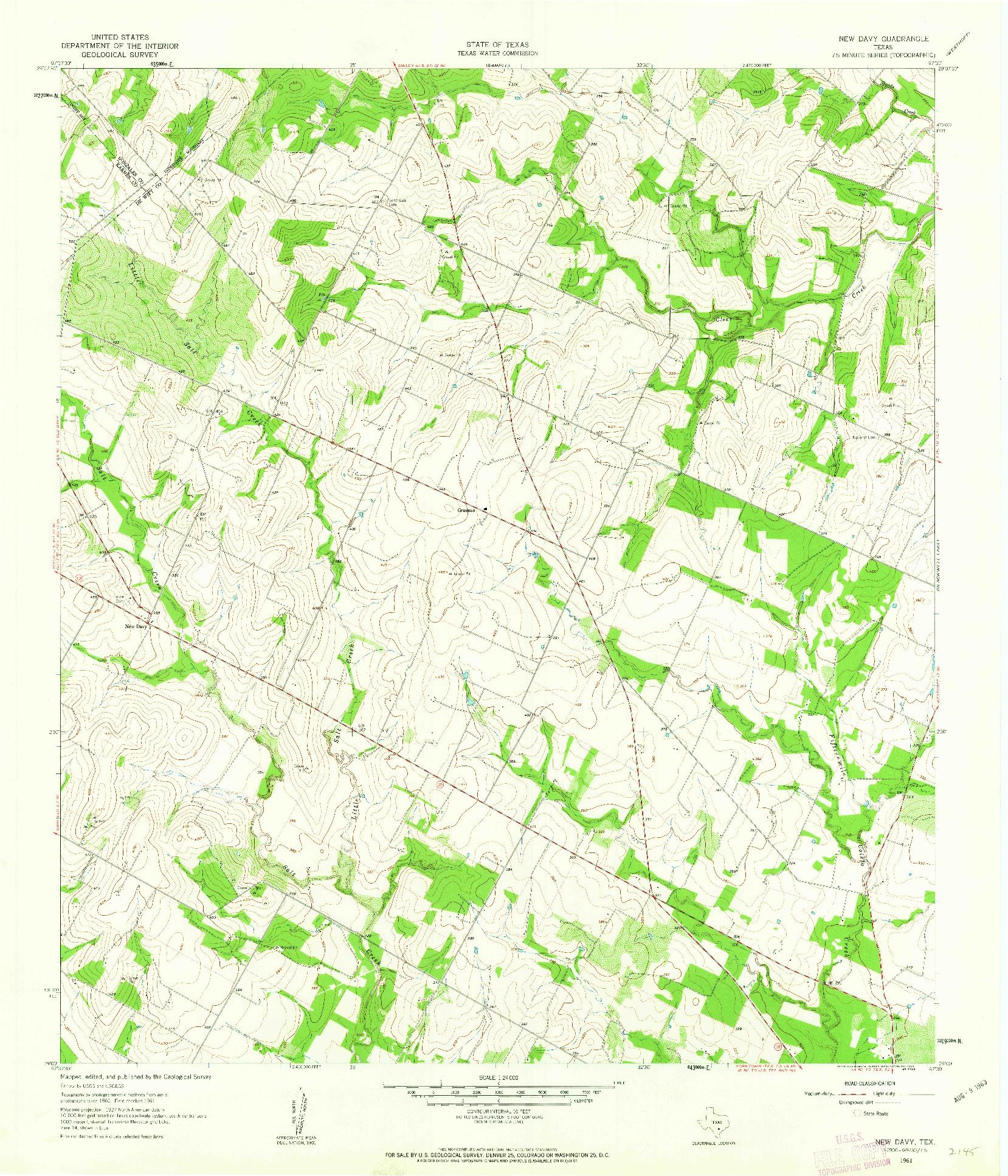 USGS 1:24000-SCALE QUADRANGLE FOR NEW DAVY, TX 1961