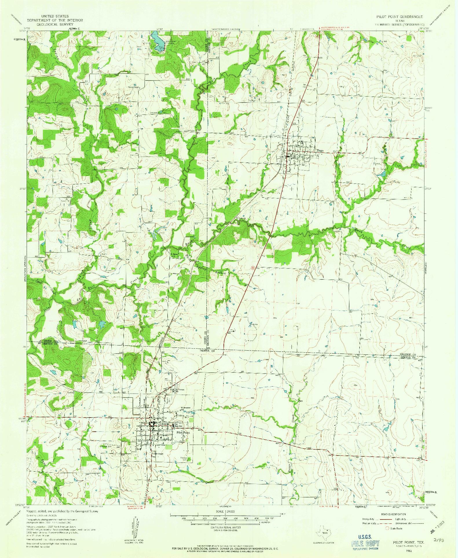 USGS 1:24000-SCALE QUADRANGLE FOR PILOT POINT, TX 1961