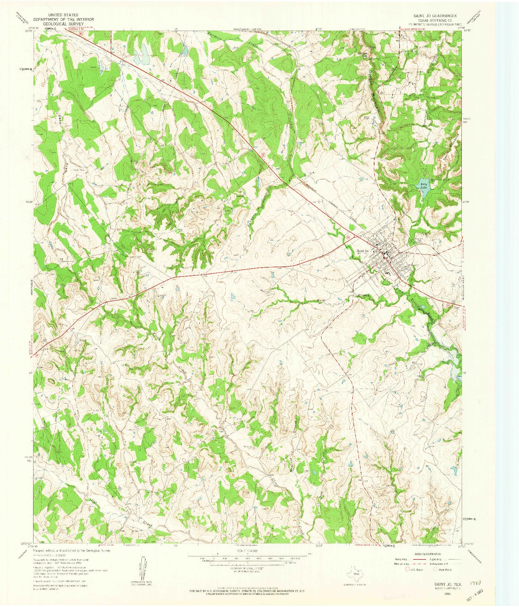 USGS 1:24000-SCALE QUADRANGLE FOR SAINT JO, TX 1961