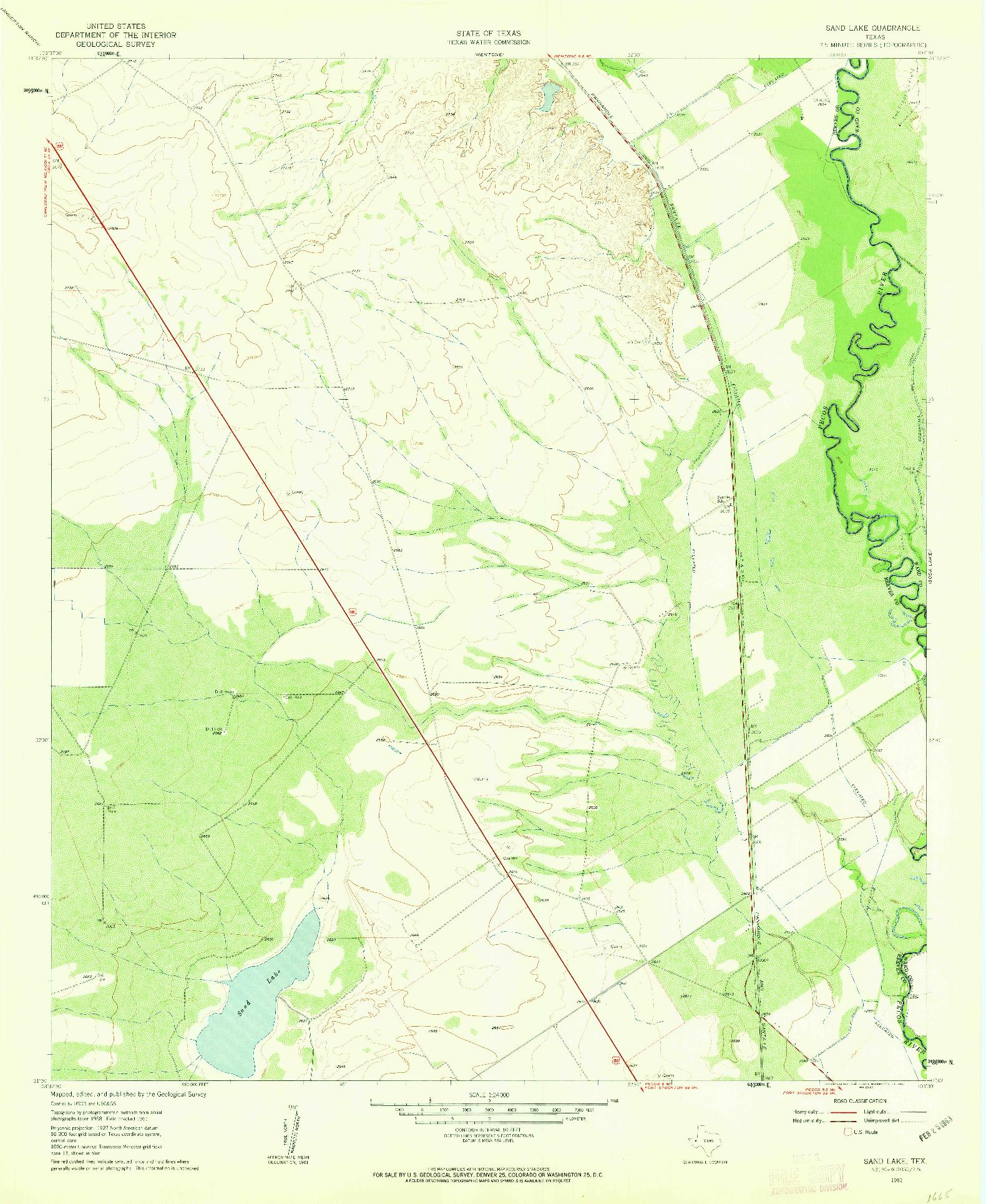 USGS 1:24000-SCALE QUADRANGLE FOR SAND LAKE, TX 1961
