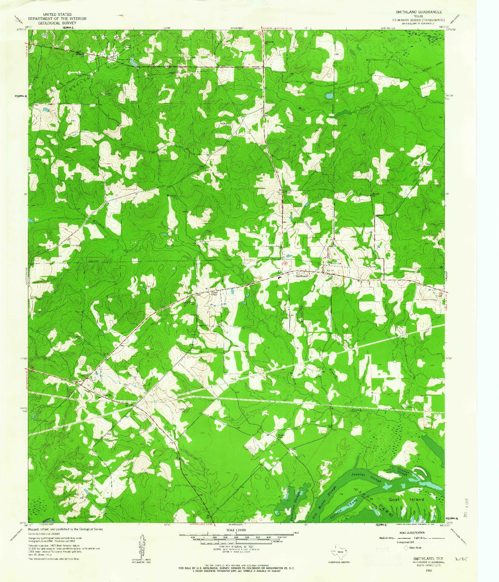 USGS 1:24000-SCALE QUADRANGLE FOR SMITHLAND, TX 1962