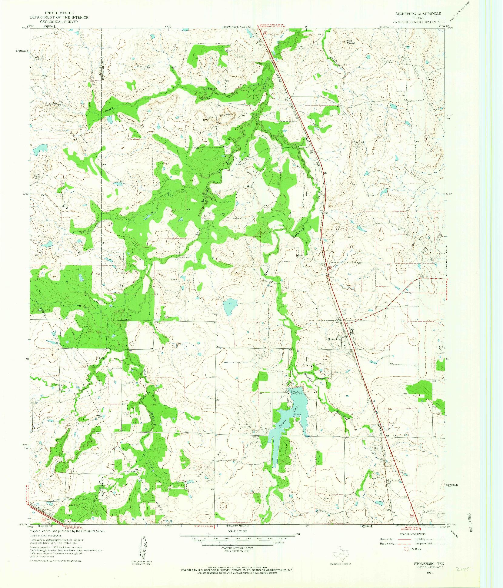 USGS 1:24000-SCALE QUADRANGLE FOR STONEBURG, TX 1961