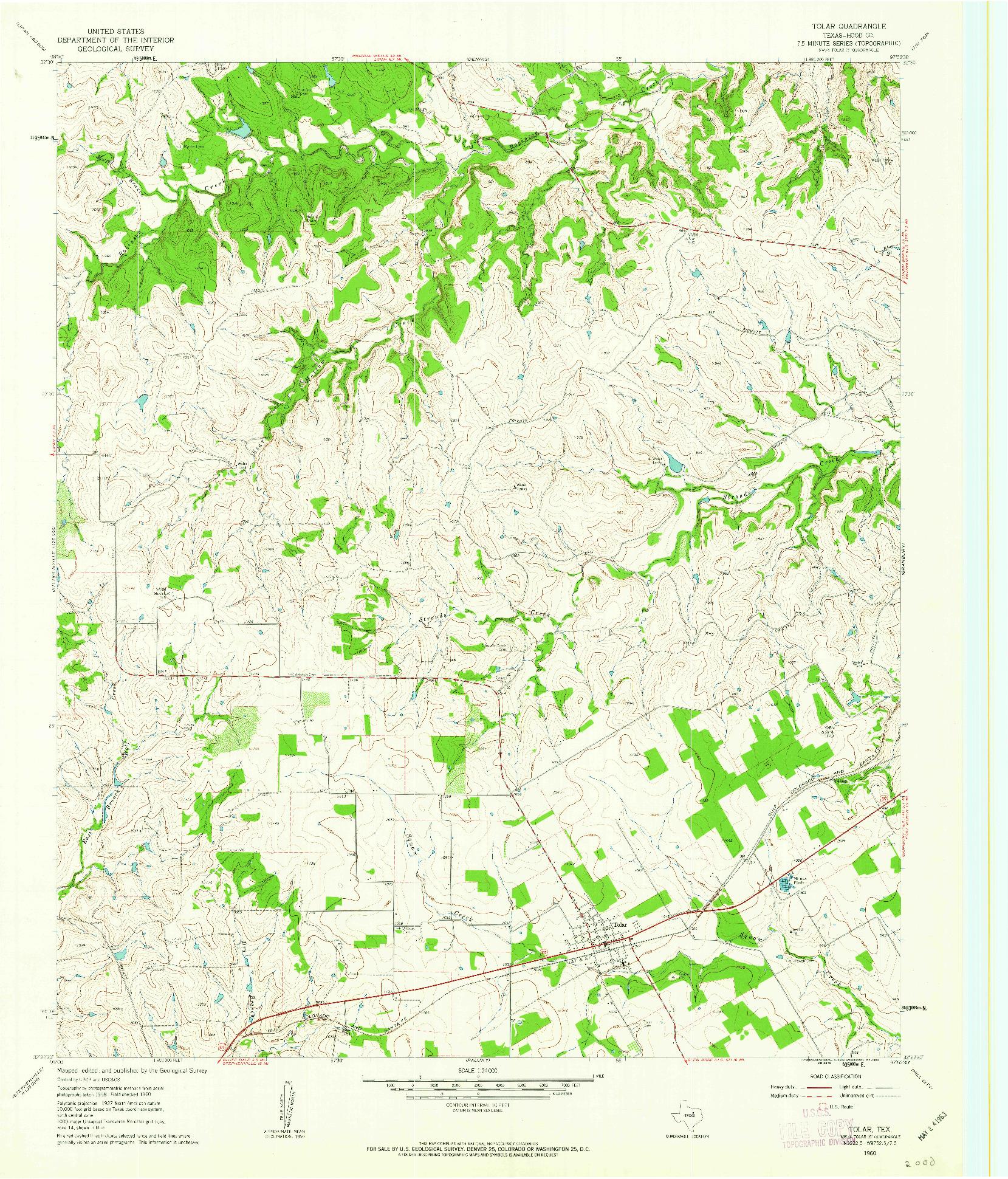 USGS 1:24000-SCALE QUADRANGLE FOR TOLAR, TX 1960