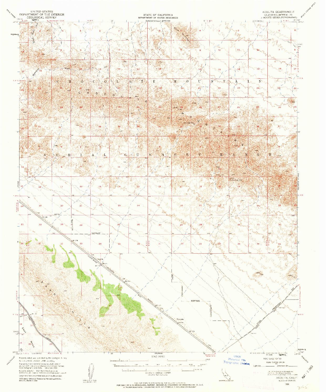 USGS 1:62500-SCALE QUADRANGLE FOR ACOLITA, CA 1953