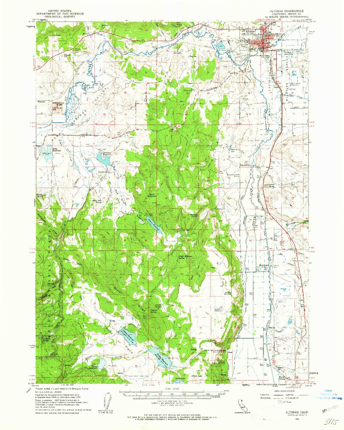 USGS 1:62500-SCALE QUADRANGLE FOR ALTURAS, CA 1961