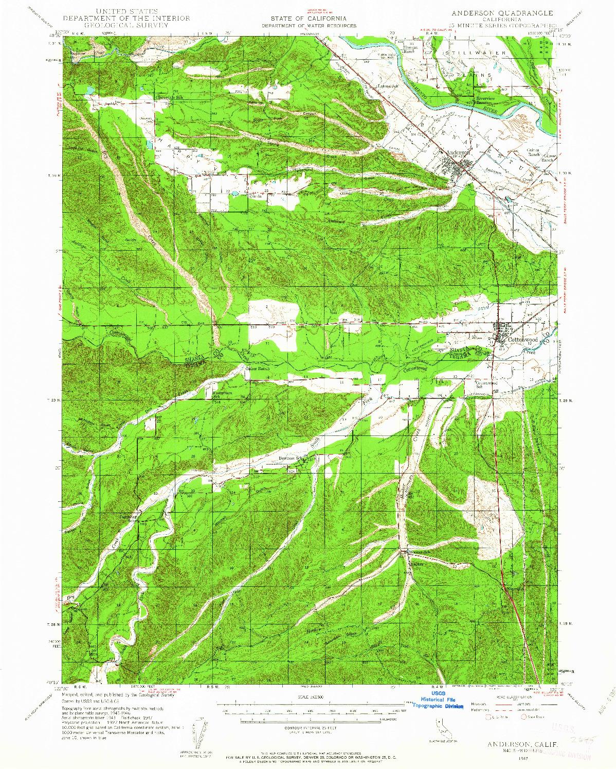USGS 1:62500-SCALE QUADRANGLE FOR ANDERSON, CA 1947