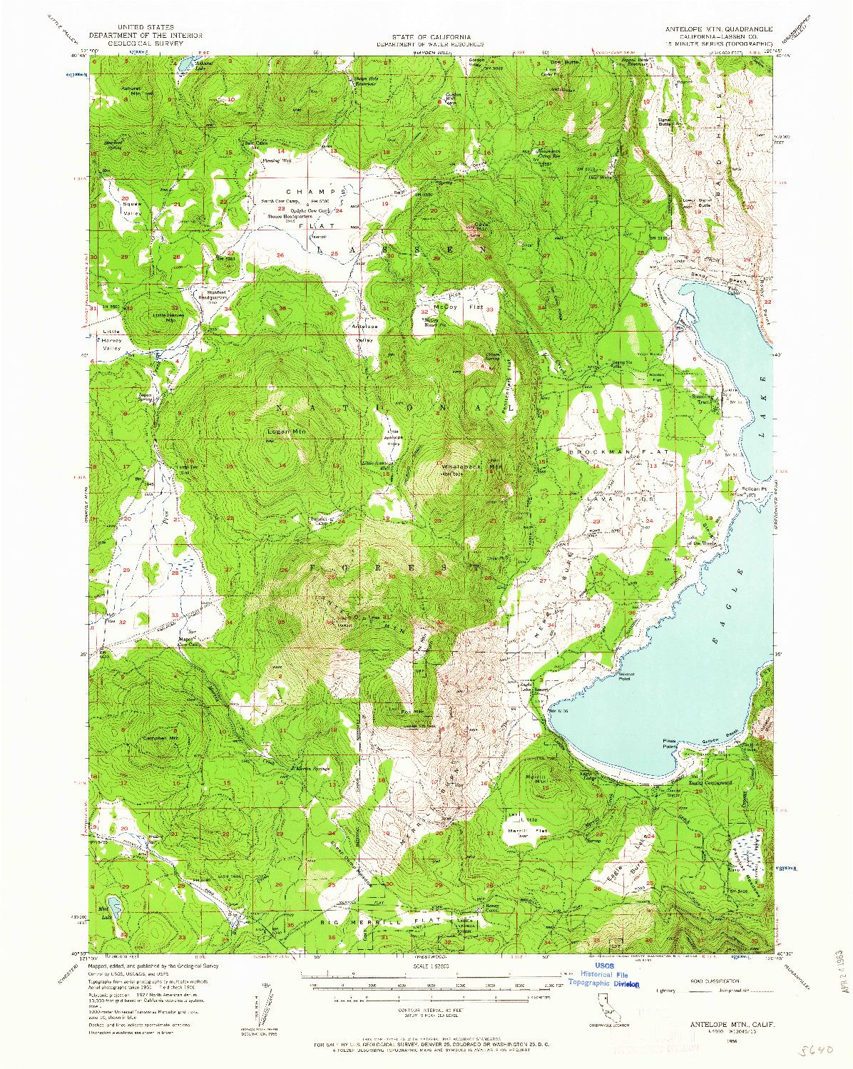 USGS 1:62500-SCALE QUADRANGLE FOR ANTELOPE MTN, CA 1956