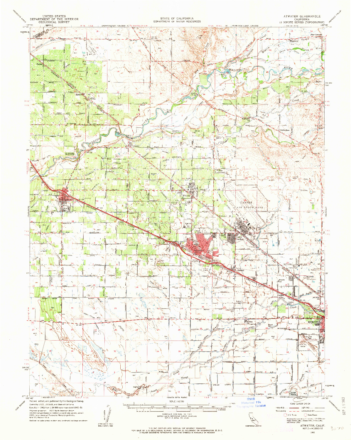 USGS 1:62500-SCALE QUADRANGLE FOR ATWATER, CA 1961