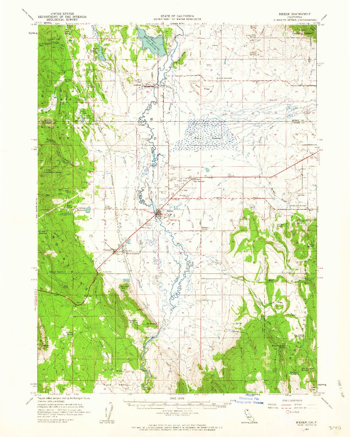 USGS 1:62500-SCALE QUADRANGLE FOR BIEBER, CA 1961