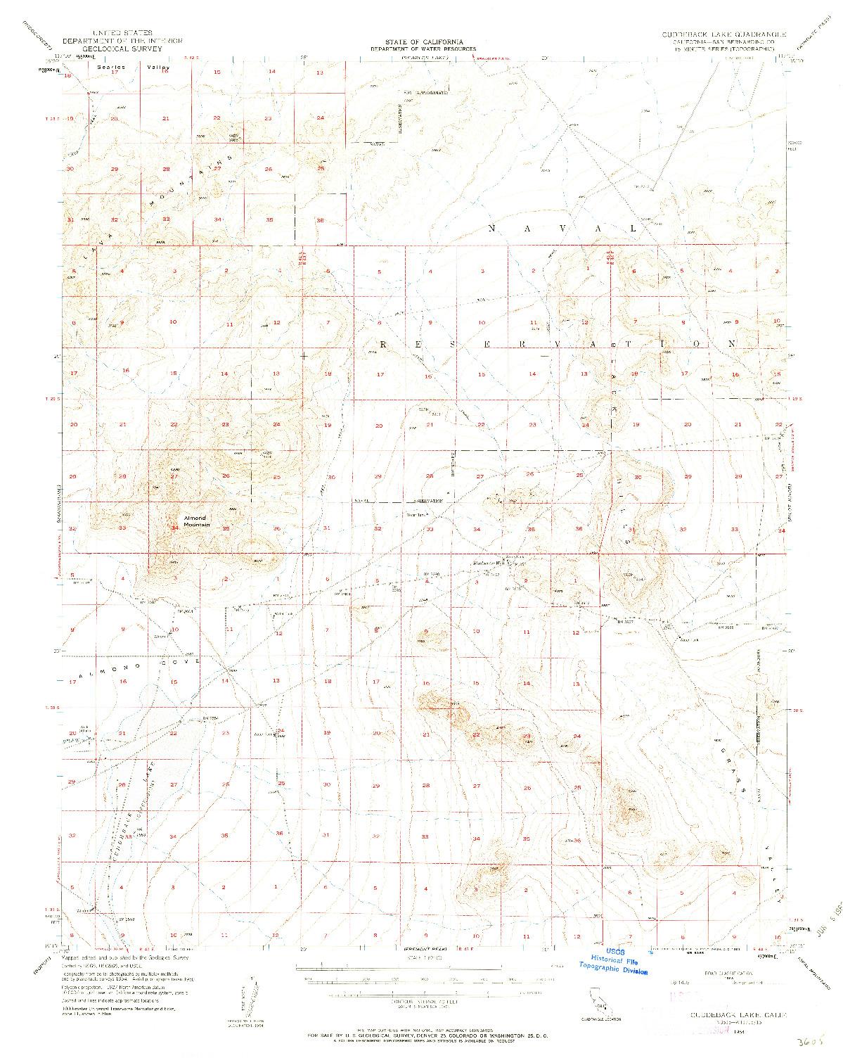 USGS 1:62500-SCALE QUADRANGLE FOR CUDDEBACK LAKE, CA 1954