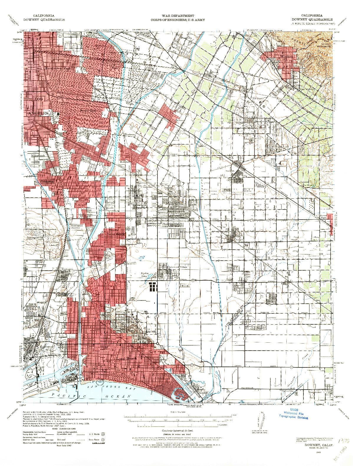 USGS 1:62500-SCALE QUADRANGLE FOR DOWNEY, CA 1943