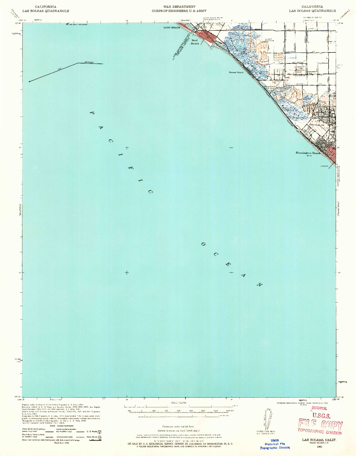 USGS 1:62500-SCALE QUADRANGLE FOR LAS BOLSAS, CA 1941