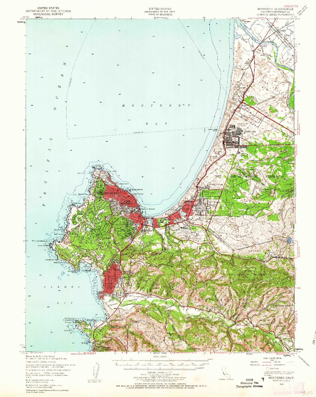 USGS 1:62500-SCALE QUADRANGLE FOR MONTEREY, CA 1947