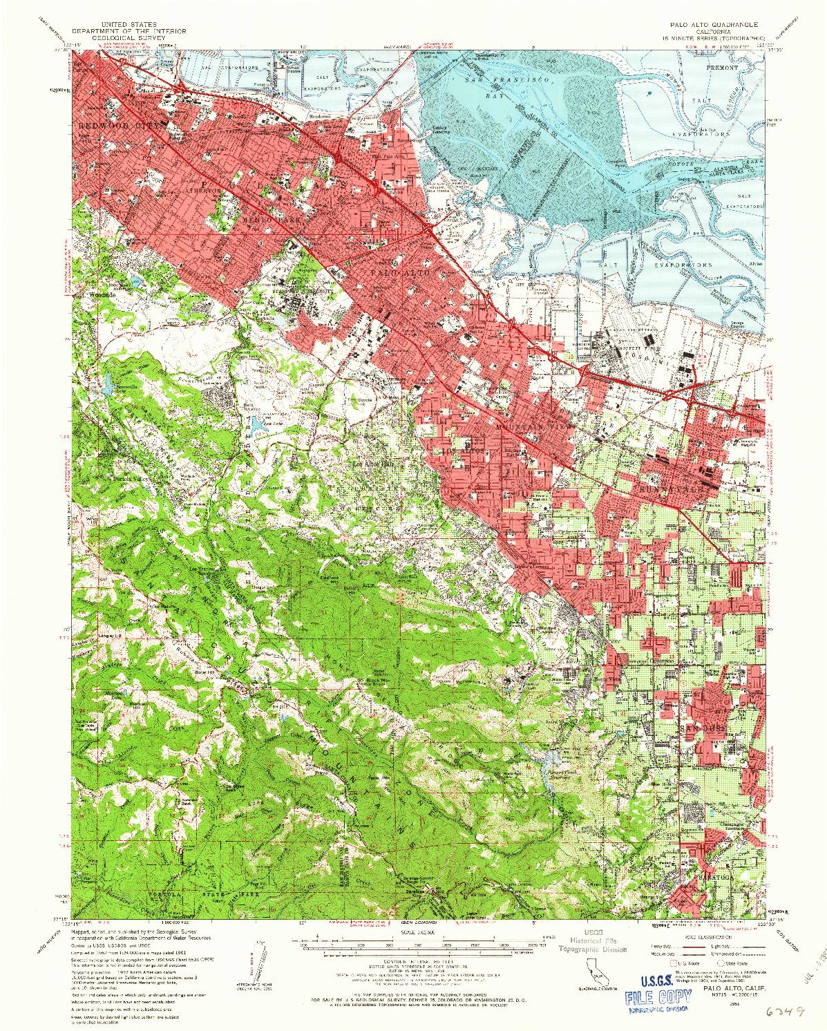 USGS 1:62500-SCALE QUADRANGLE FOR PALO ALTO, CA 1961