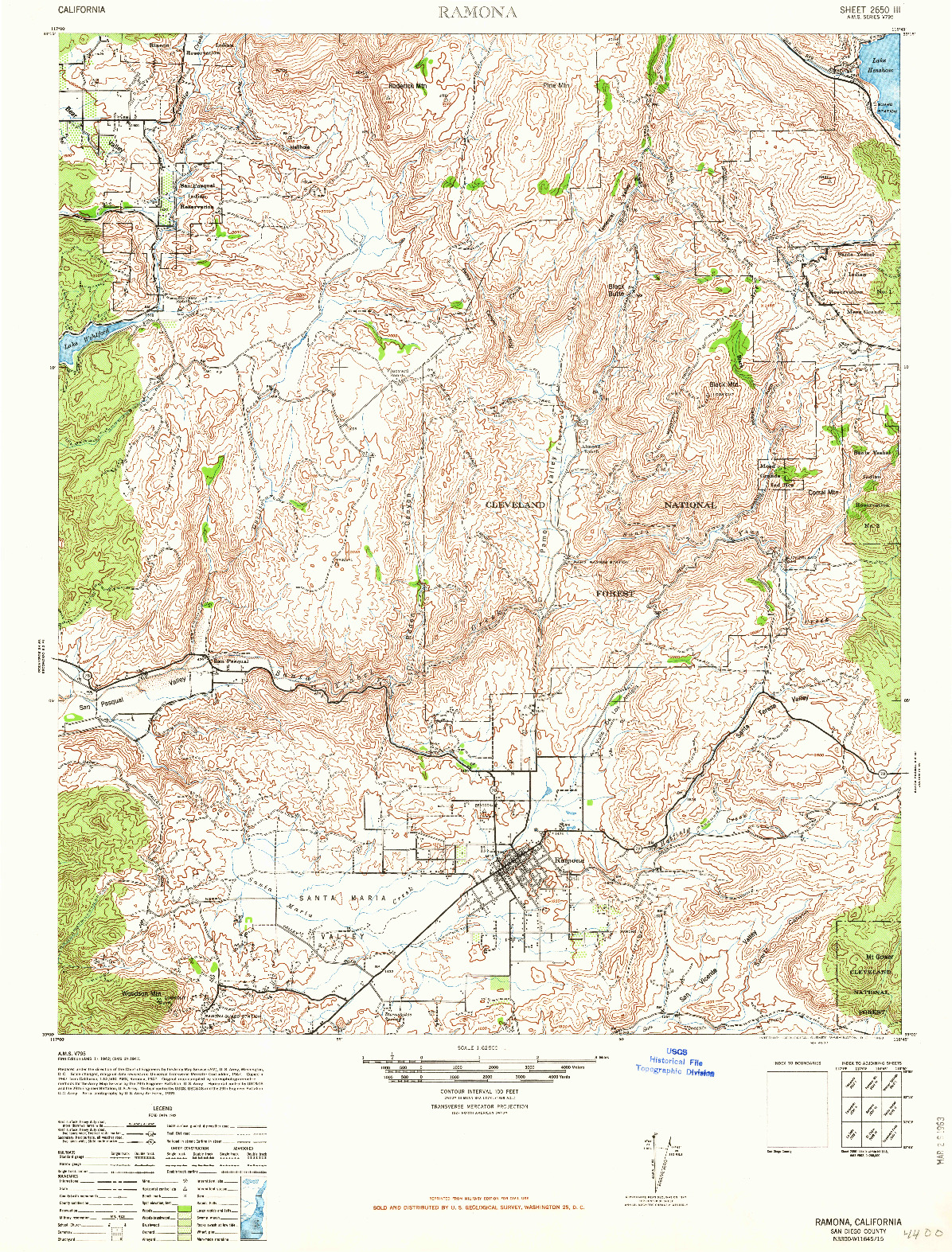 USGS 1:62500-SCALE QUADRANGLE FOR RAMONA, CA 1942