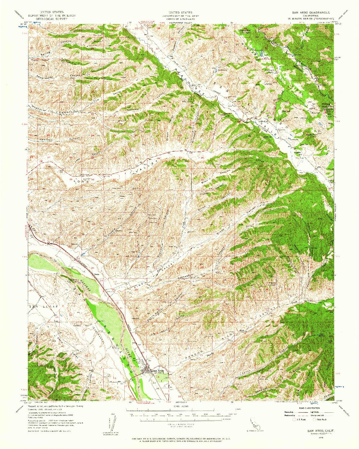 USGS 1:62500-SCALE QUADRANGLE FOR SAN ARDO, CA 1956