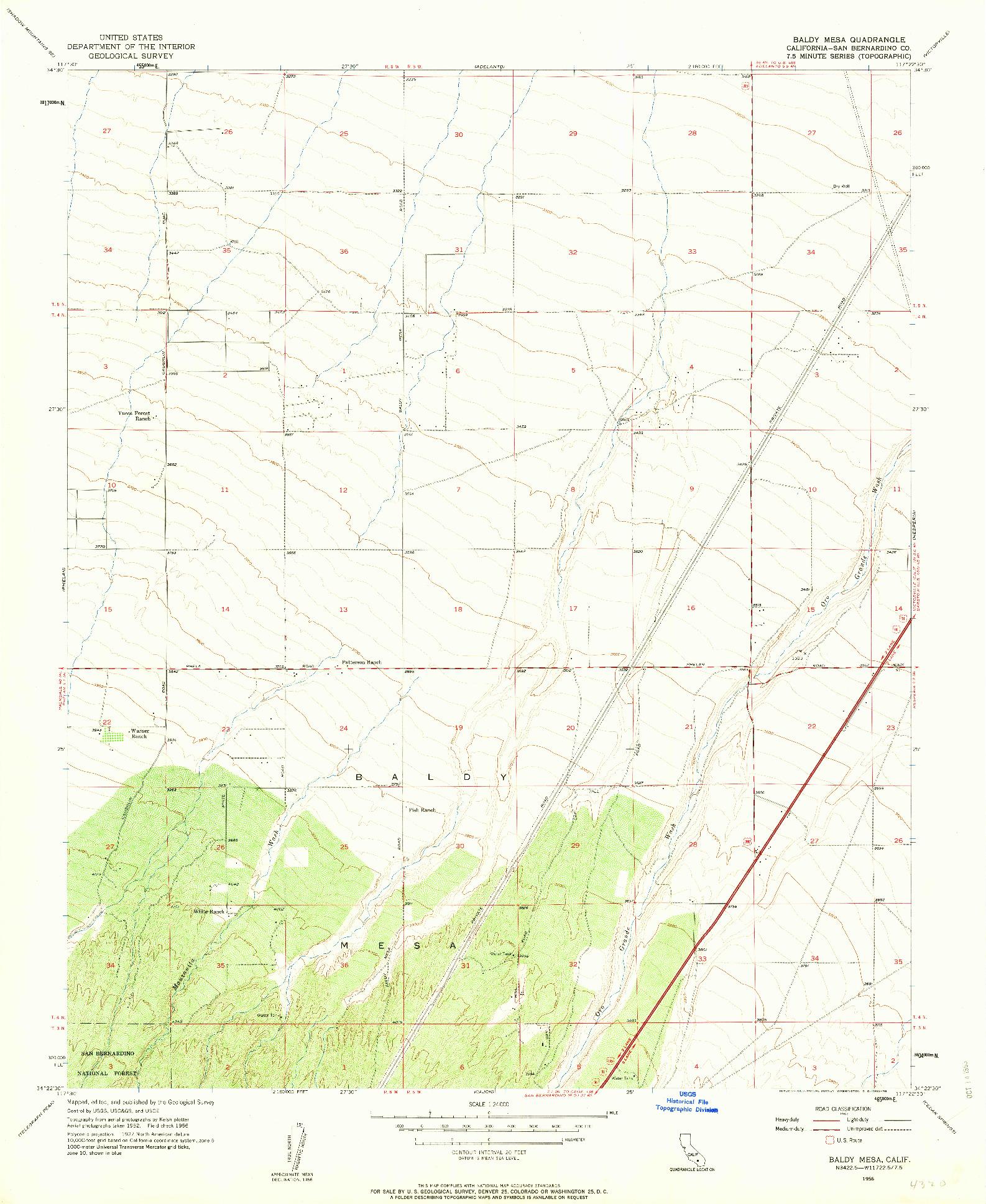 USGS 1:24000-SCALE QUADRANGLE FOR BALDY MESA, CA 1956