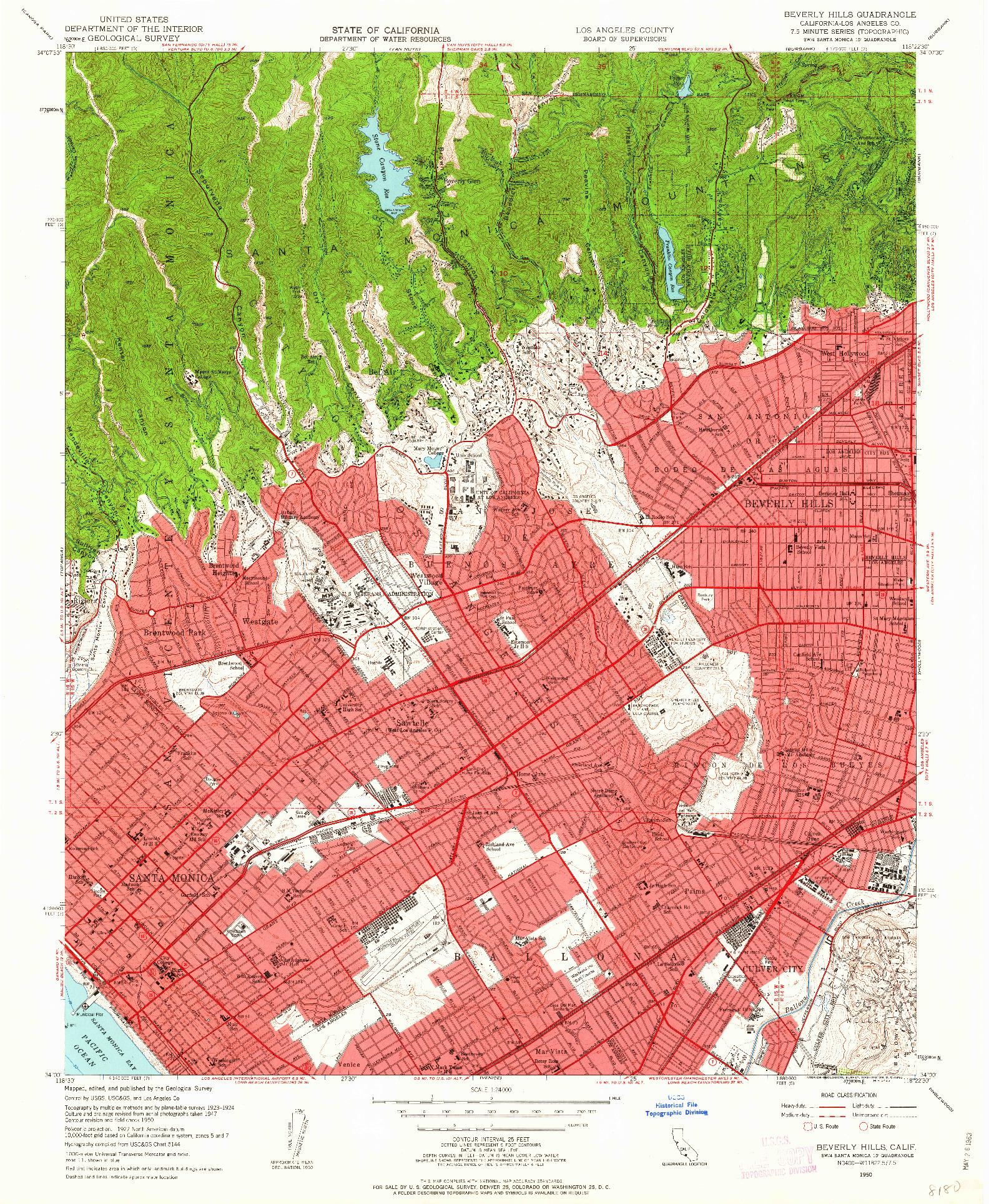 USGS 1:24000-SCALE QUADRANGLE FOR BEVERLY HILLS, CA 1950