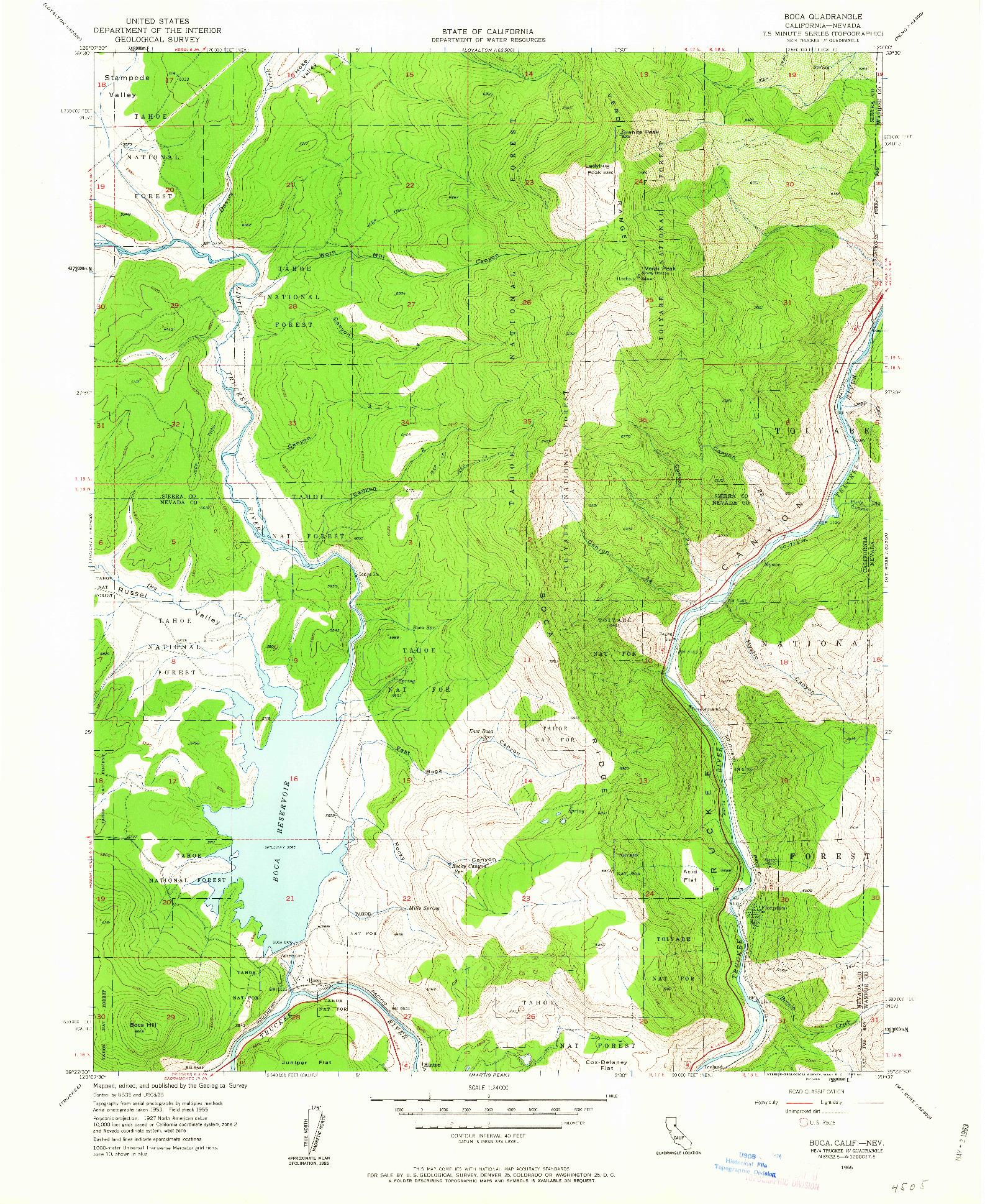USGS 1:24000-SCALE QUADRANGLE FOR BOCA, CA 1955