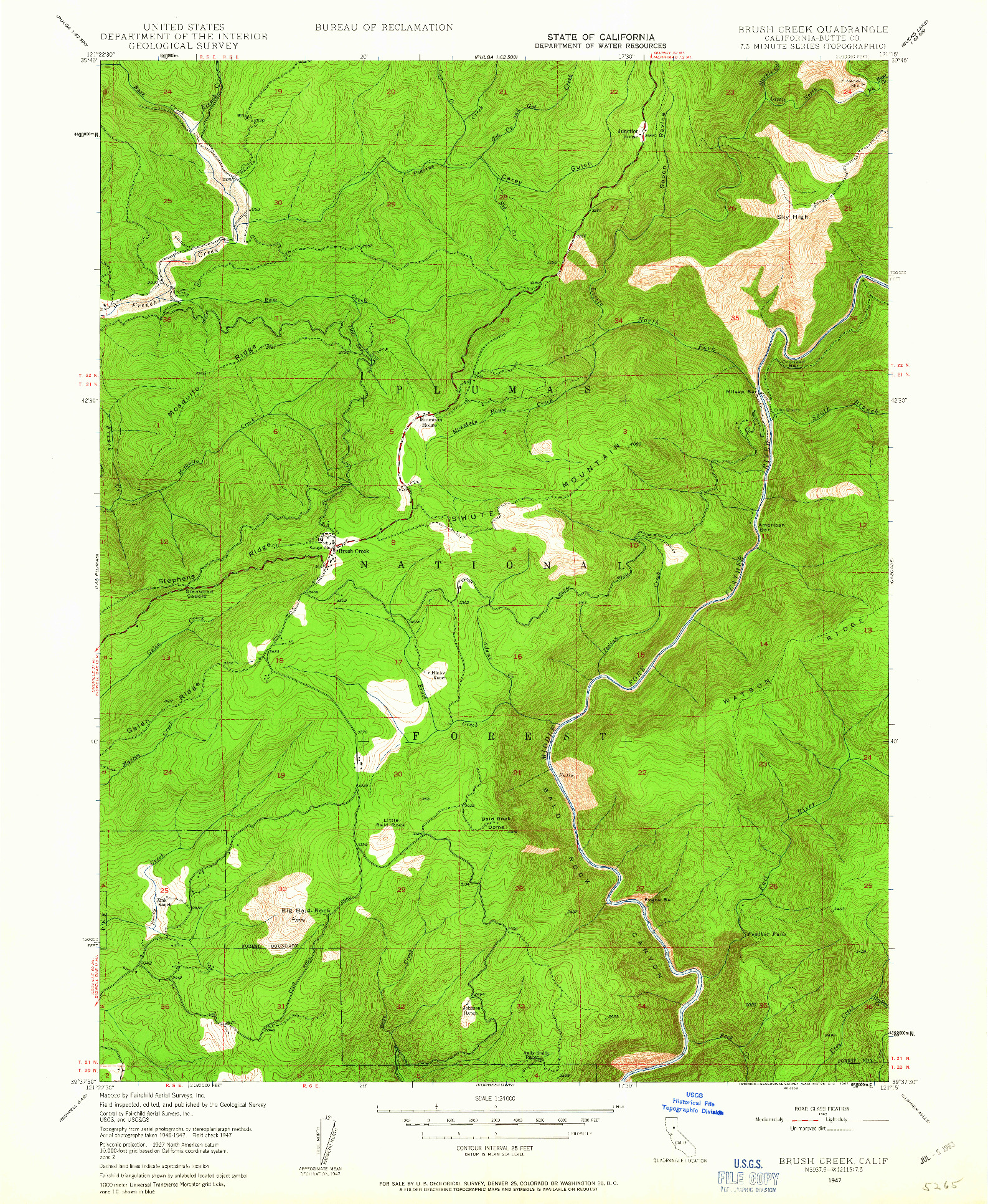 USGS 1:24000-SCALE QUADRANGLE FOR BRUSH CREEK, CA 1947