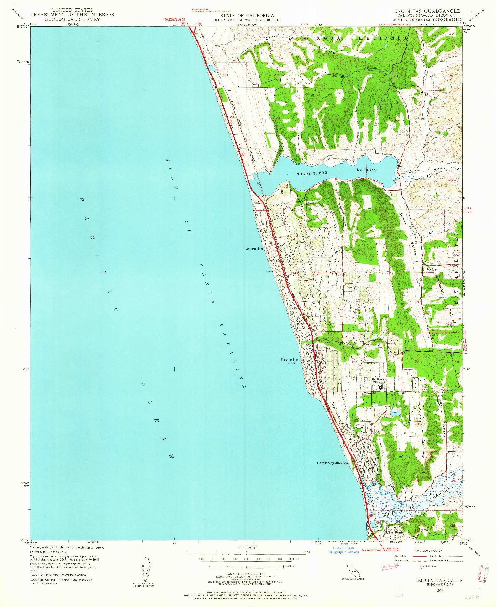 USGS 1:24000-SCALE QUADRANGLE FOR ENCINITAS, CA 1948