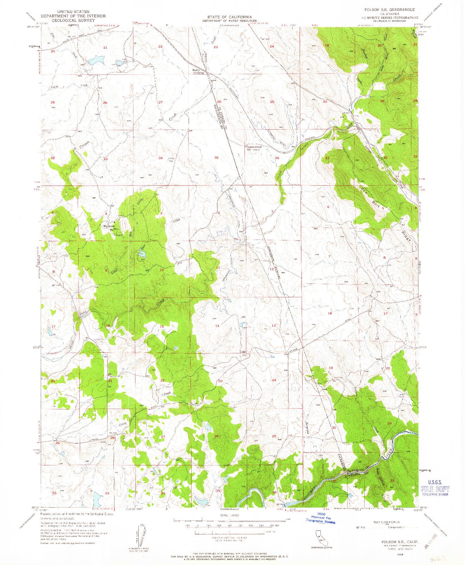 USGS 1:24000-SCALE QUADRANGLE FOR FOLSOM SE, CA 1954