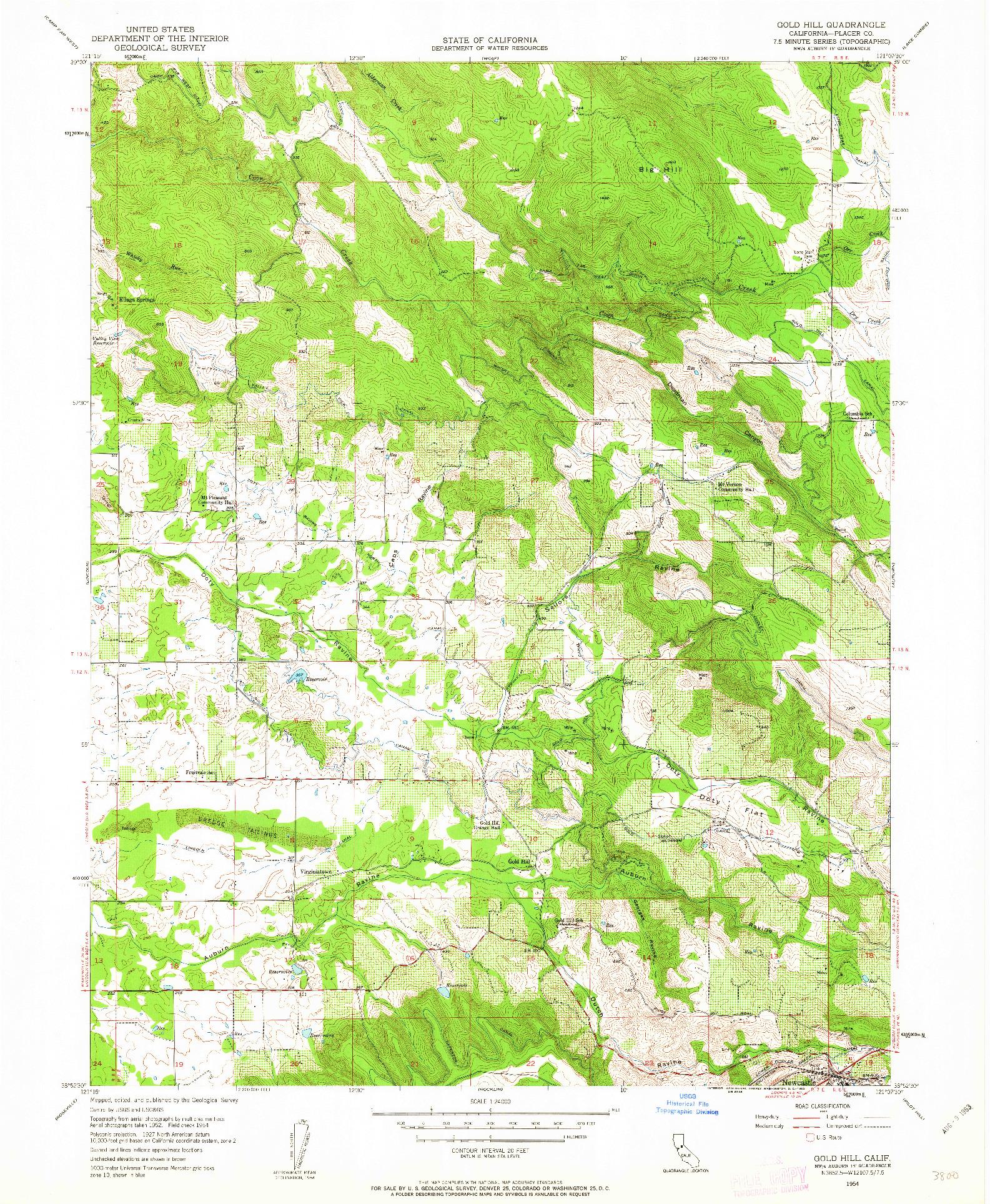 USGS 1:24000-SCALE QUADRANGLE FOR GOLD HILL, CA 1954