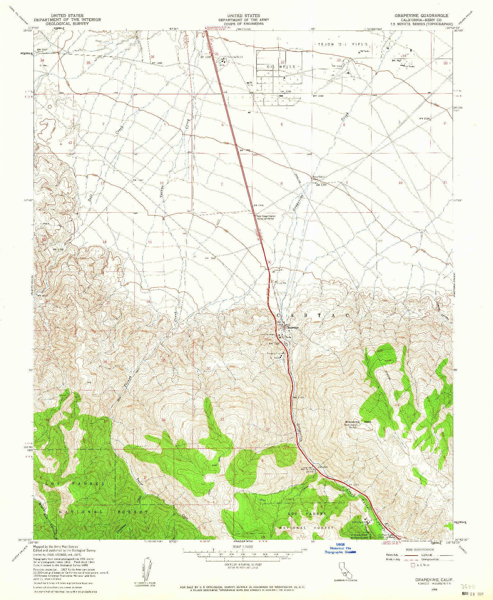 USGS 1:24000-SCALE QUADRANGLE FOR GRAPEVINE, CA 1958