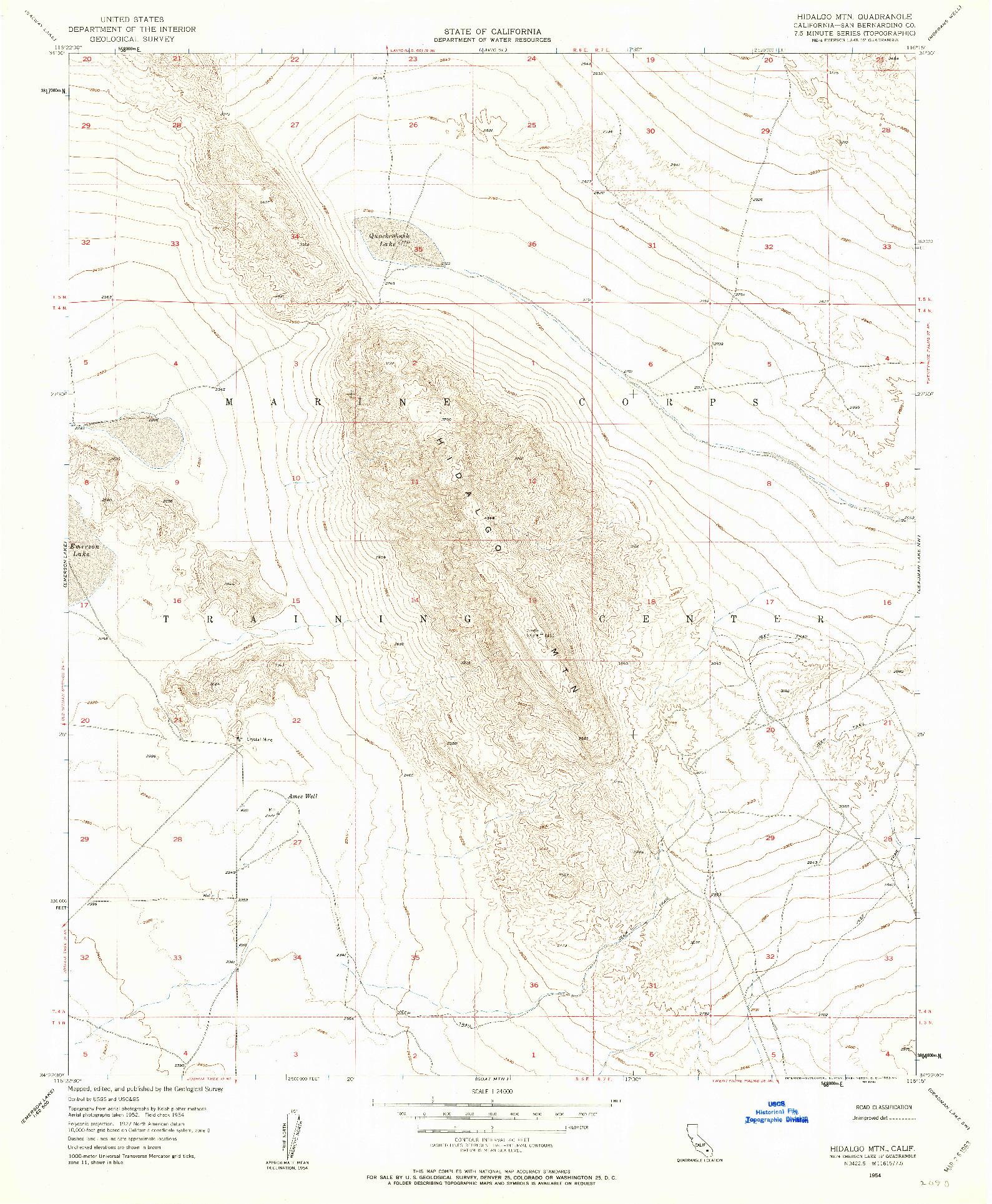 USGS 1:24000-SCALE QUADRANGLE FOR HIDALGO MTN., CA 1954