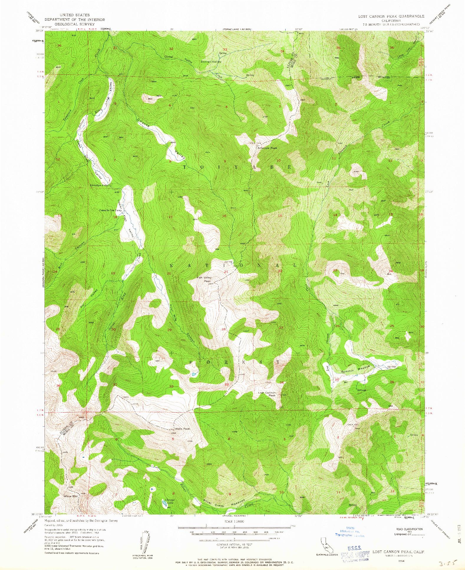USGS 1:24000-SCALE QUADRANGLE FOR LOST CANNON PEAK, CA 1954