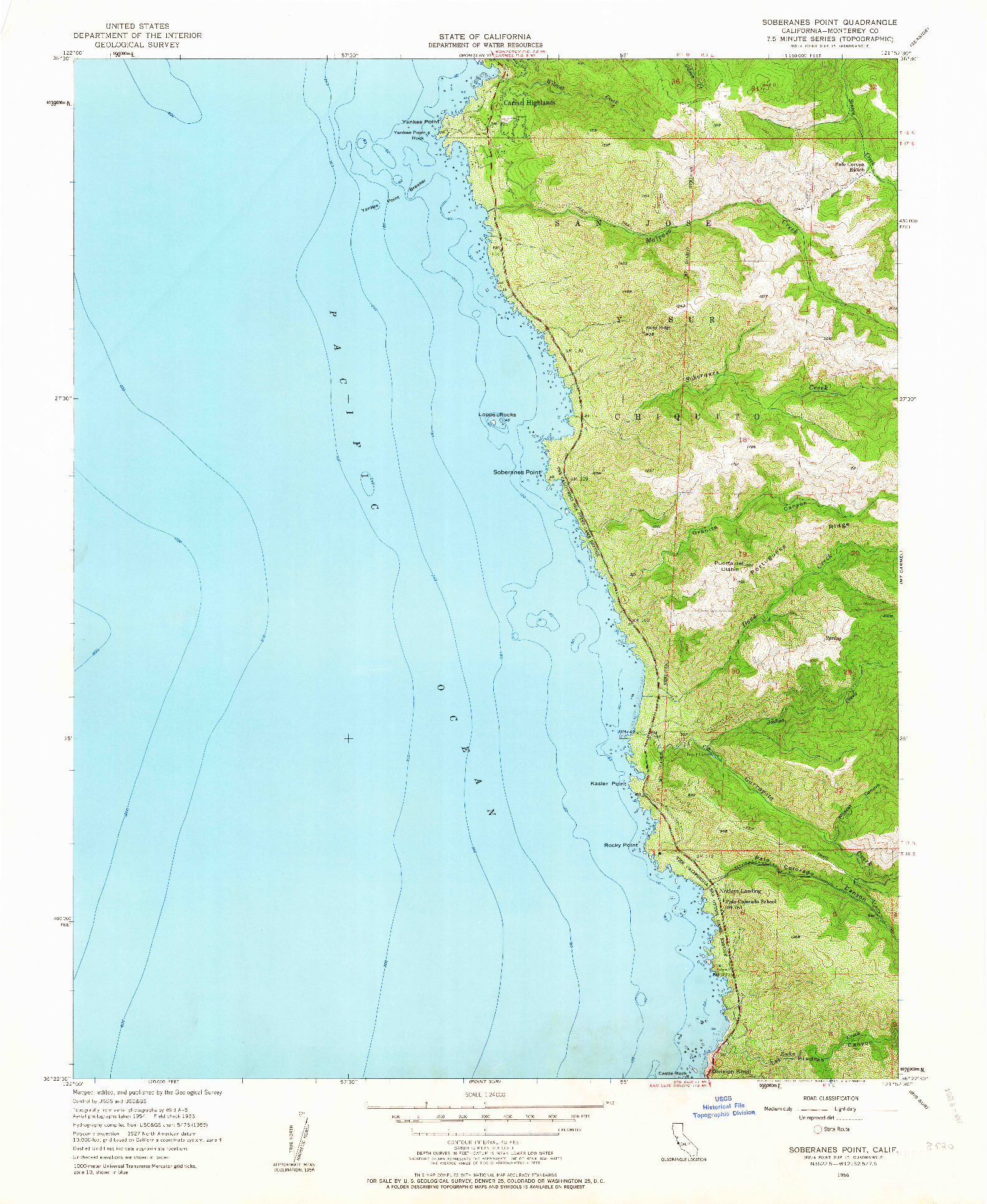 USGS 1:24000-SCALE QUADRANGLE FOR SOBERANES POINT, CA 1956