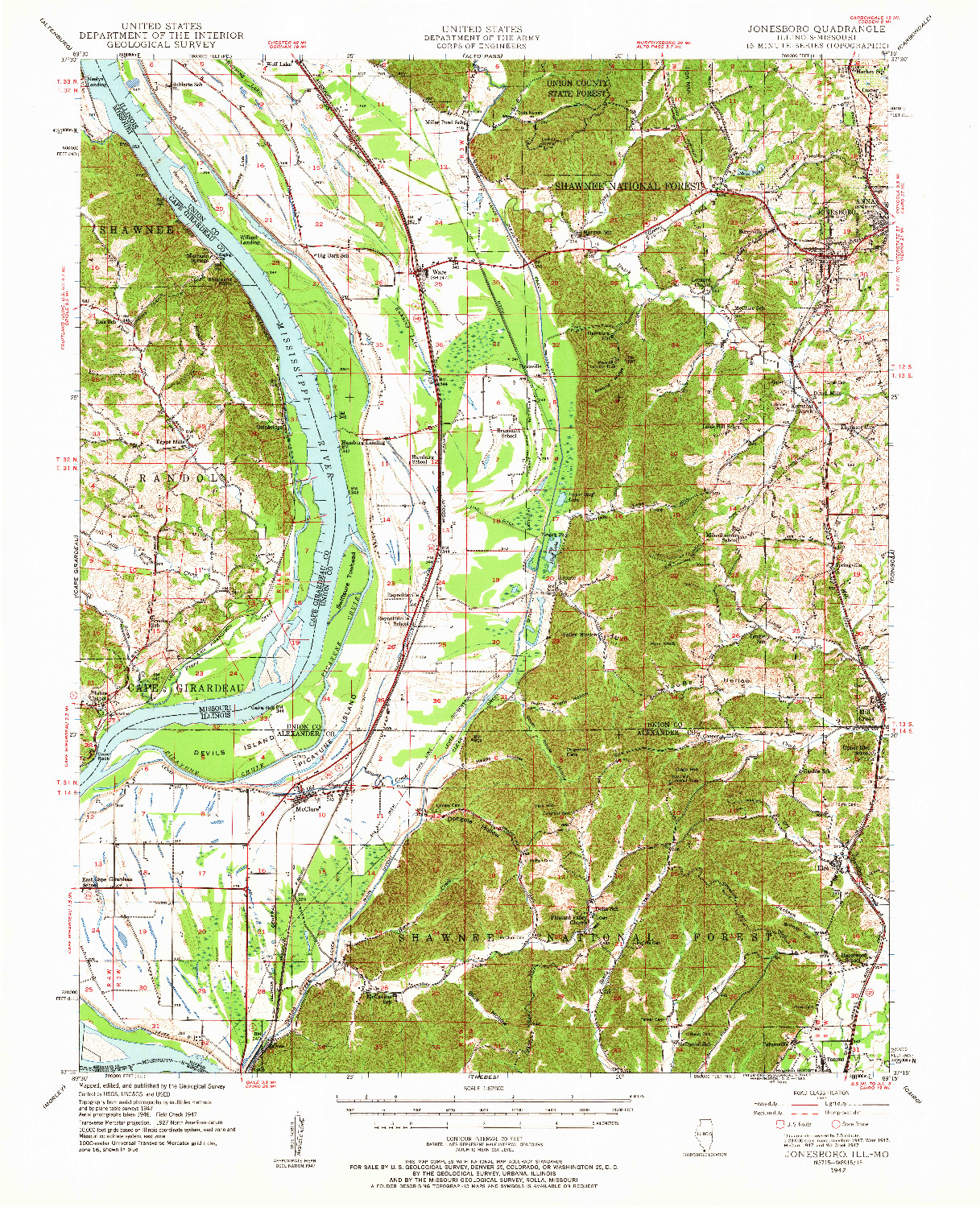 USGS 1:62500-SCALE QUADRANGLE FOR JONESBORO, IL 1947